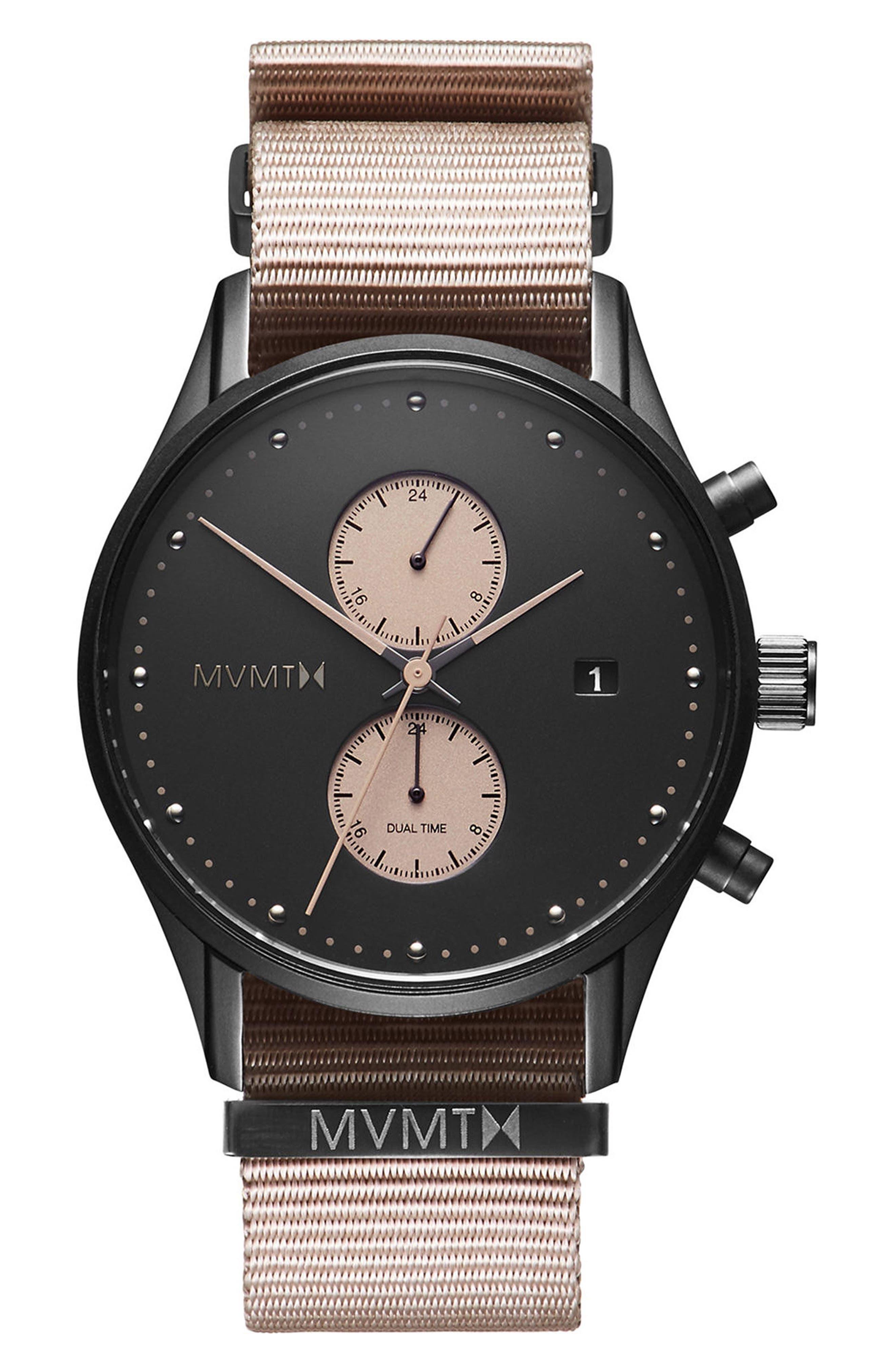 MVMT Voyager Chronograph Canvas Strap Watch, 42mm