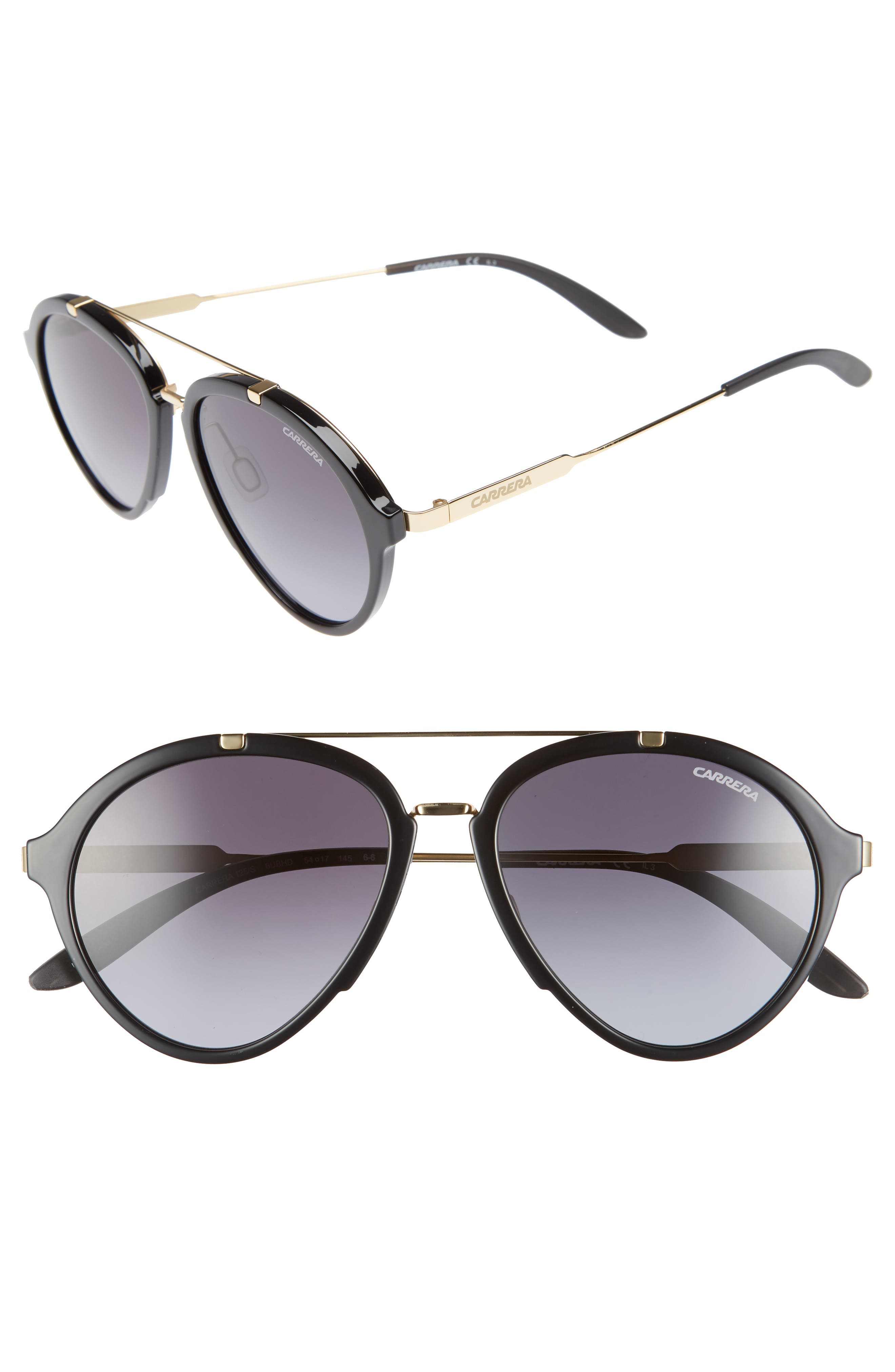 54mm Aviator Sunglasses,                             Main thumbnail 1, color,                             Shiny Black Gold