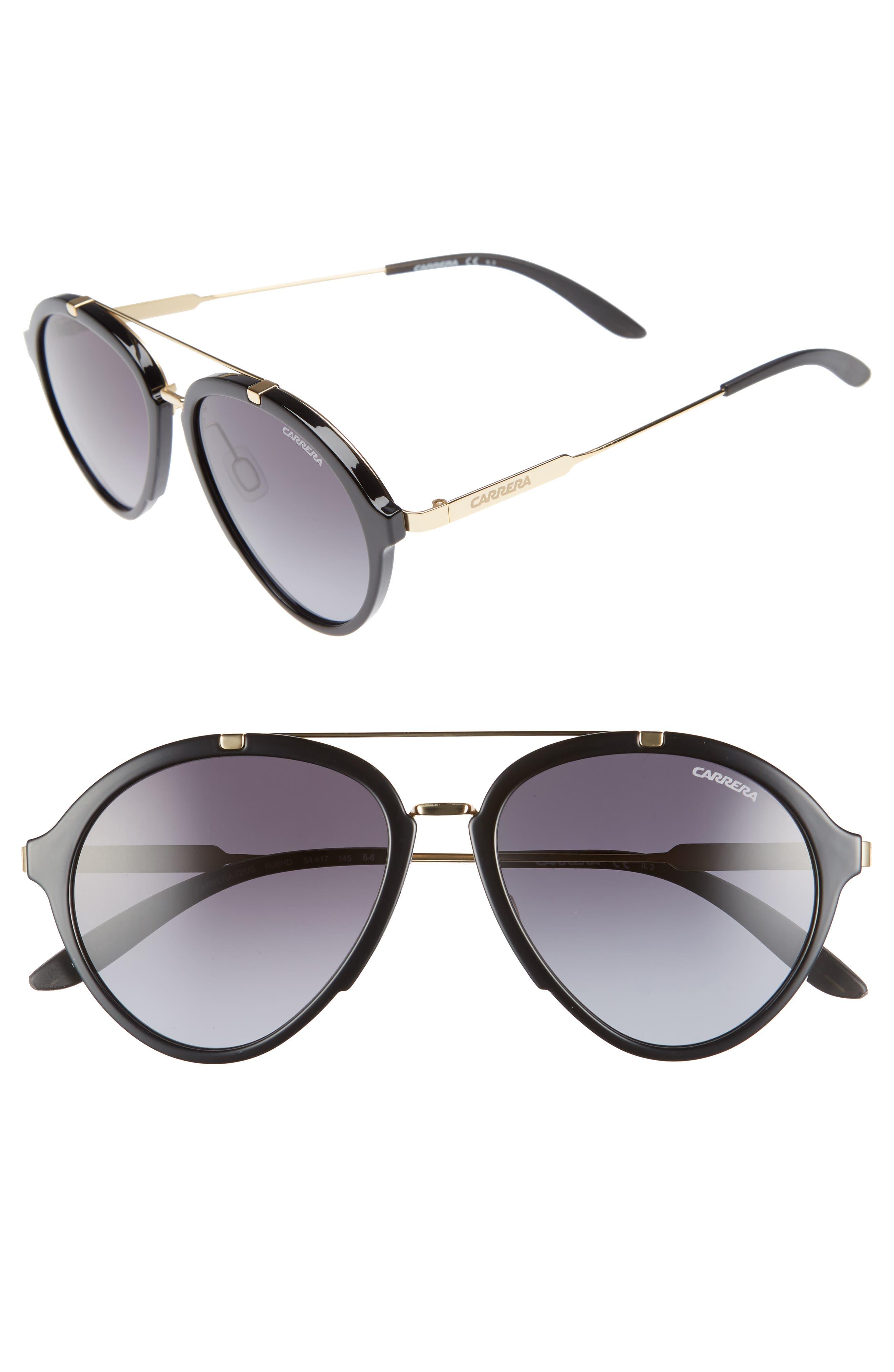 54mm Aviator Sunglasses,                         Main,                         color, Shiny Black Gold