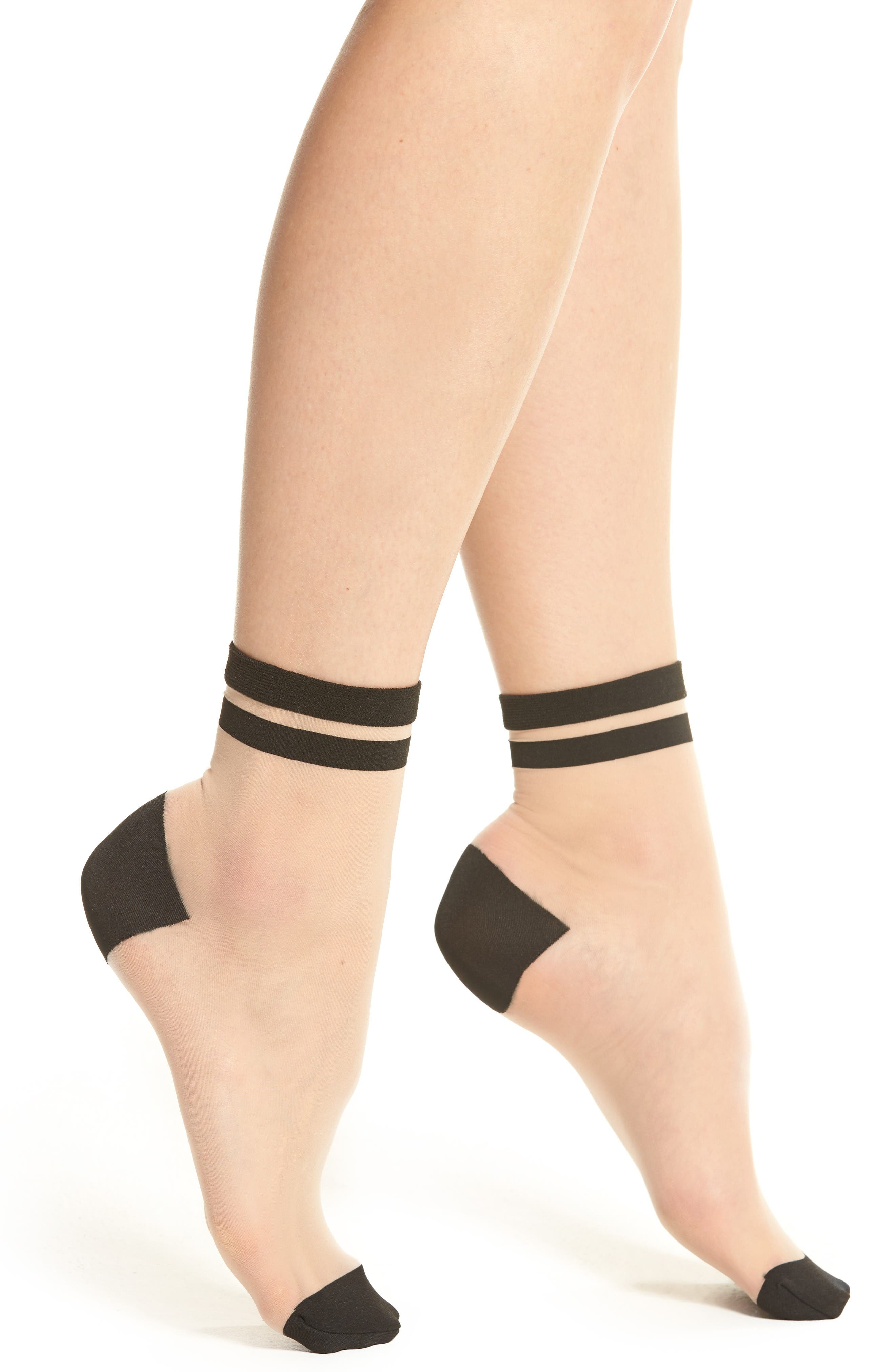 Alternate Image 1 Selected - DKNY 2-Pack Sheer Ankle Socks