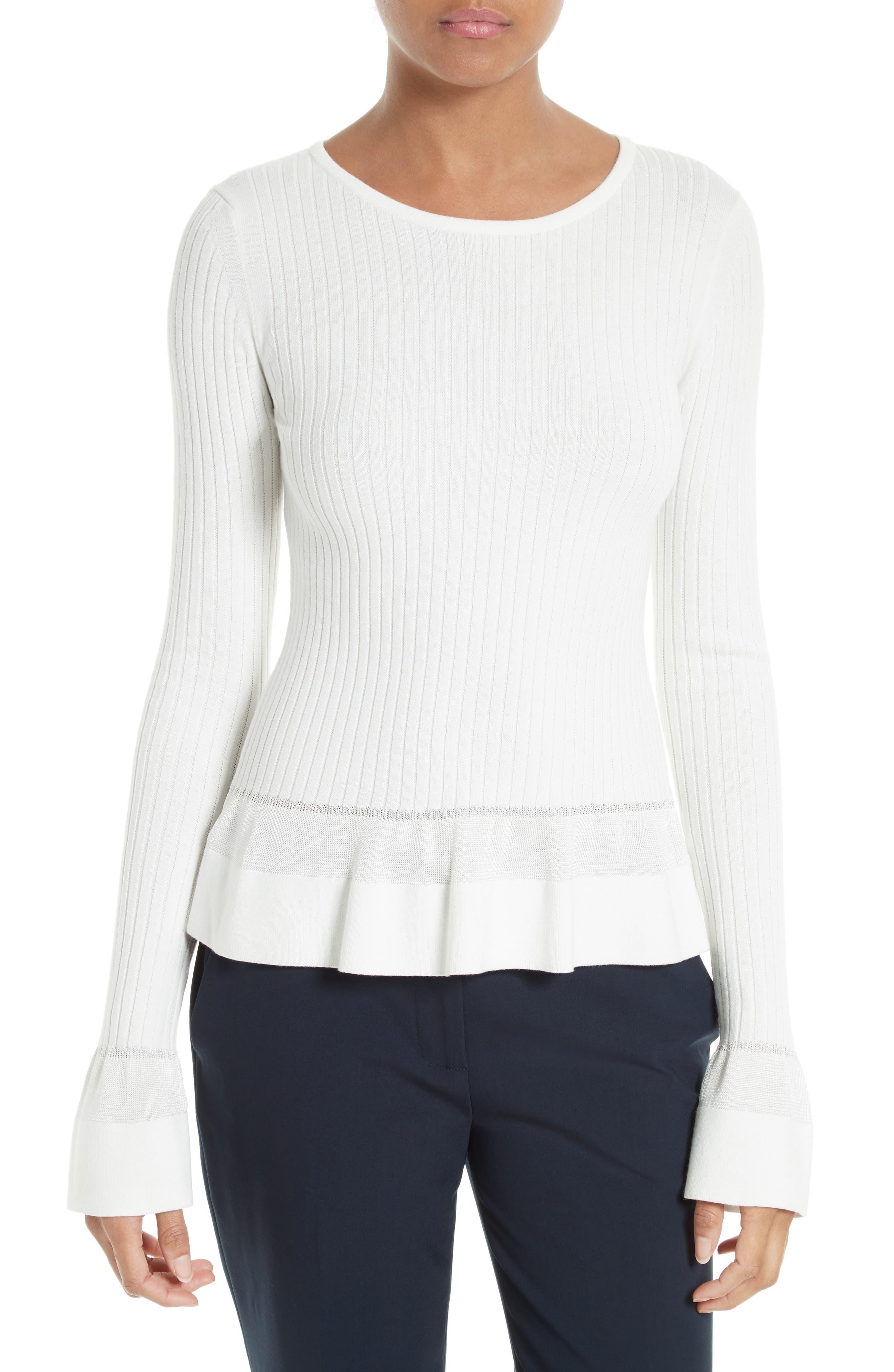Diane von Furstenberg Ribbed Peplum Sweater