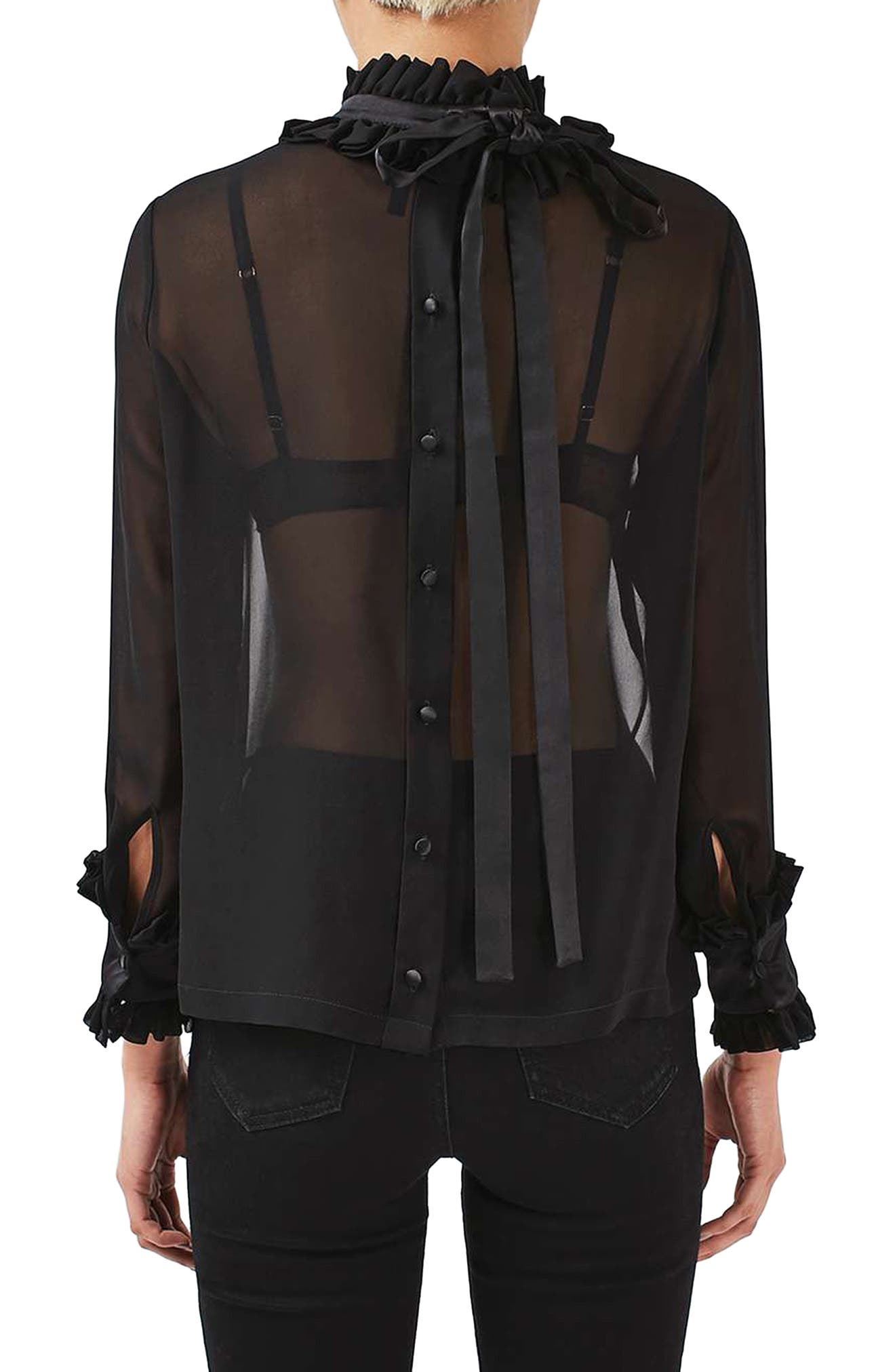 Hagen Sheer Silk Blouse,                             Alternate thumbnail 3, color,                             Black