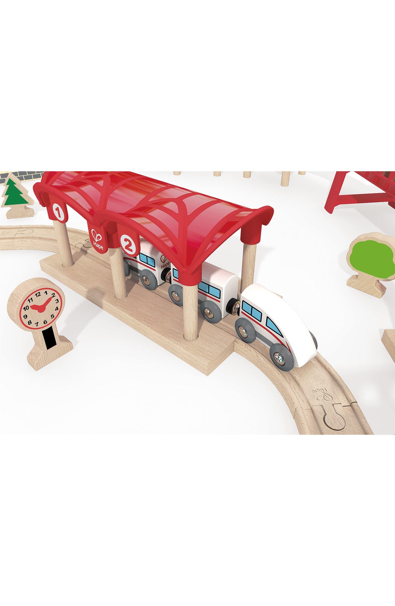 Double Loop Railway Wooden Train Set,                             Alternate thumbnail 5, color,                             Multi