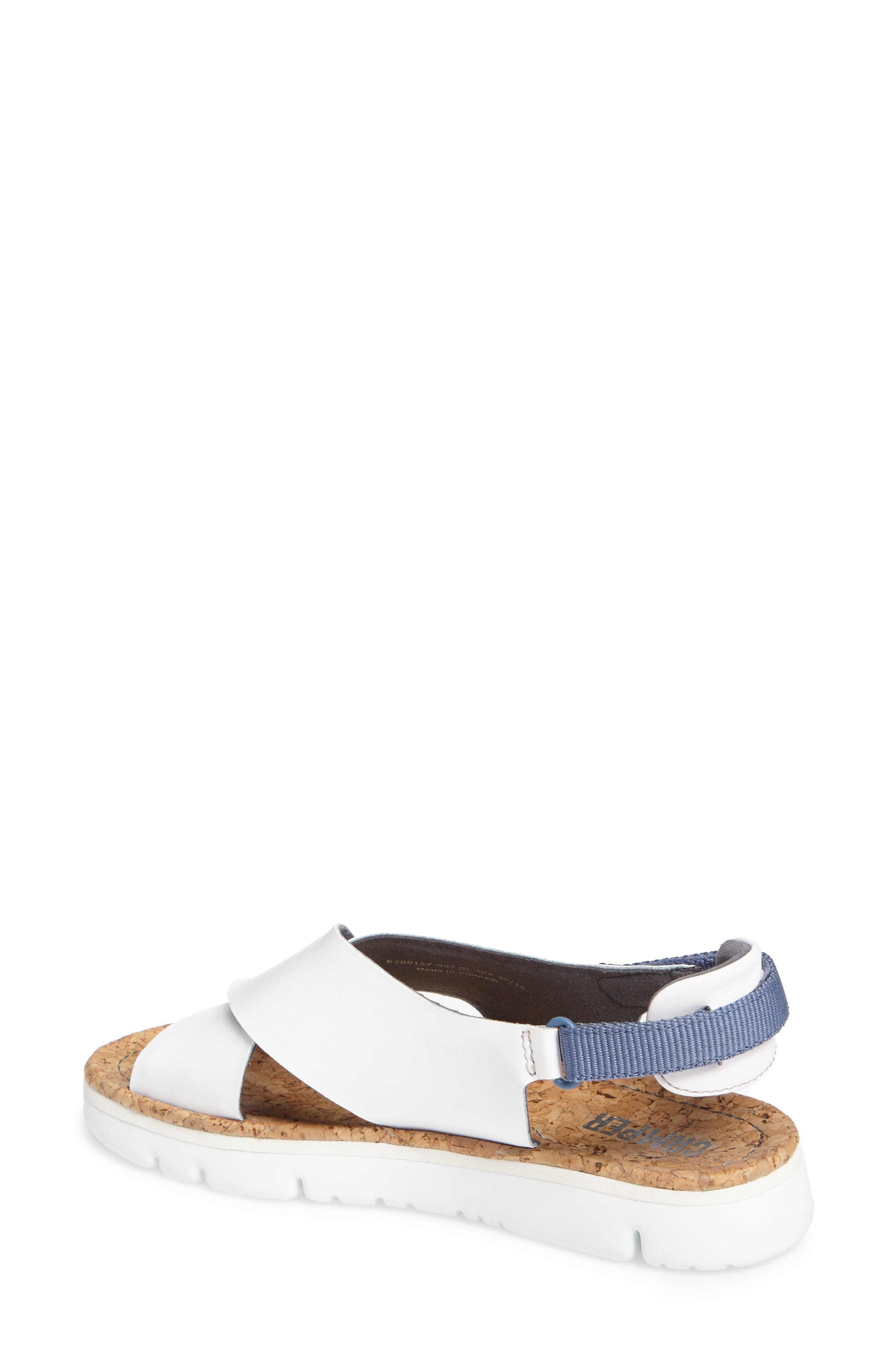 'Oruga' Crisscross Sandal,                             Alternate thumbnail 2, color,                             White Leather