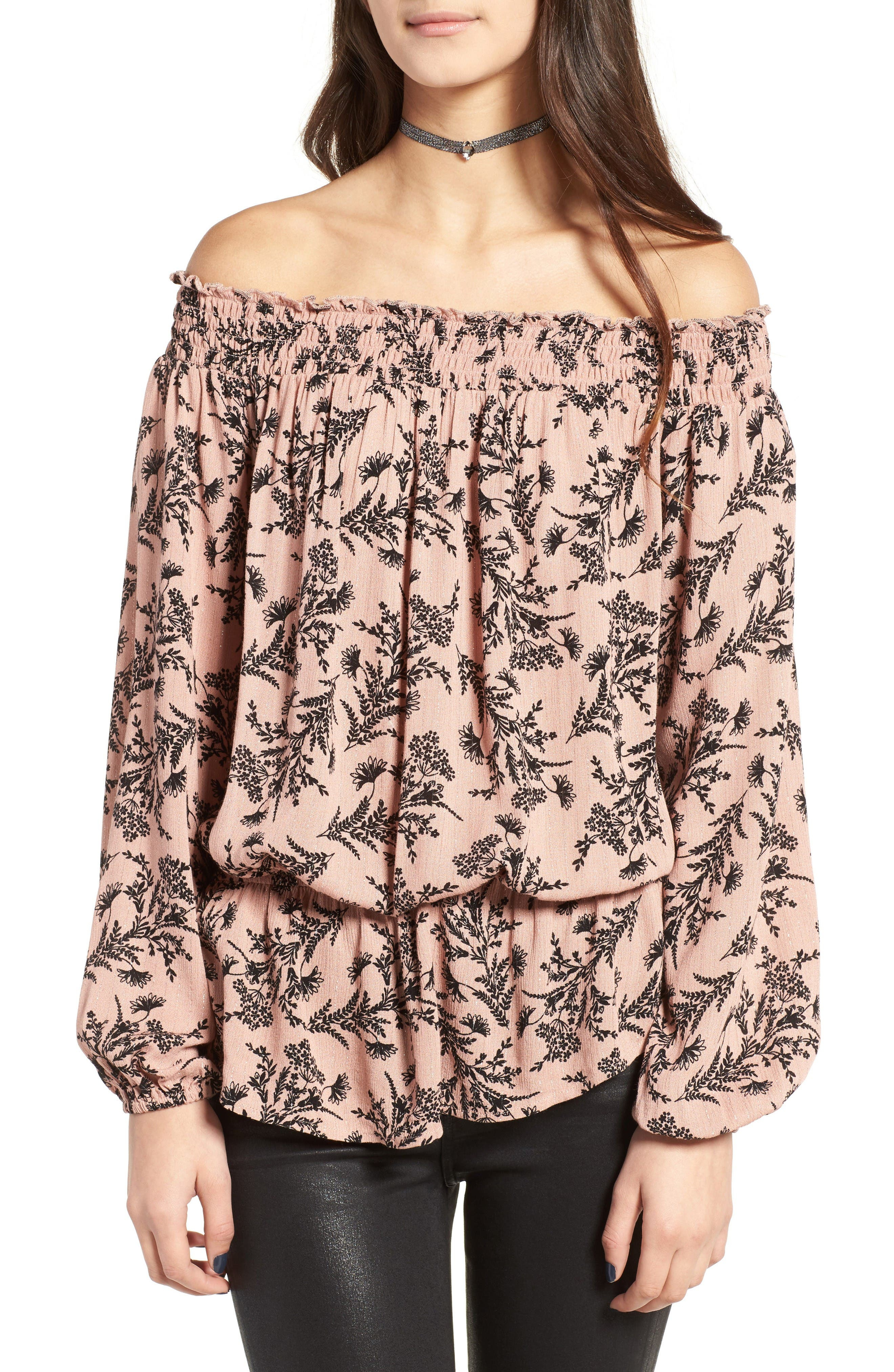 Main Image - Love, Fire Floral Off the Shoulder Top