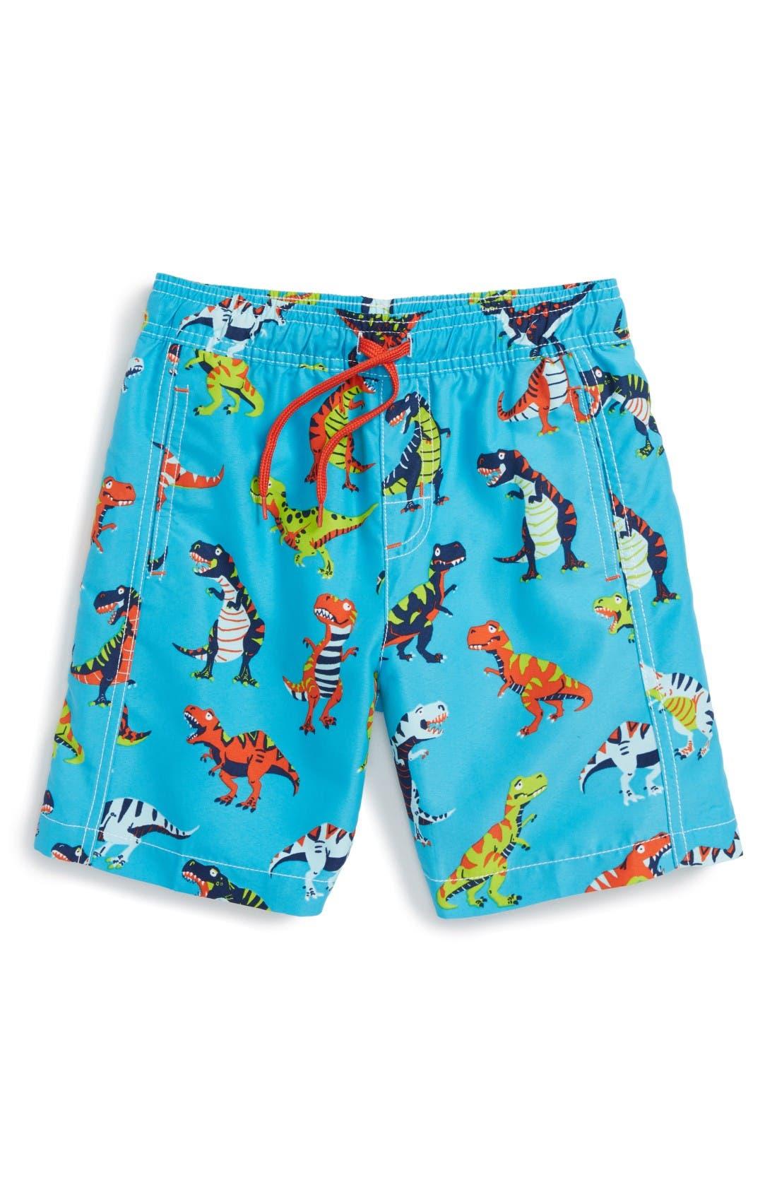 Roaring T-Rex Swim Trunks,                         Main,                         color, Blue