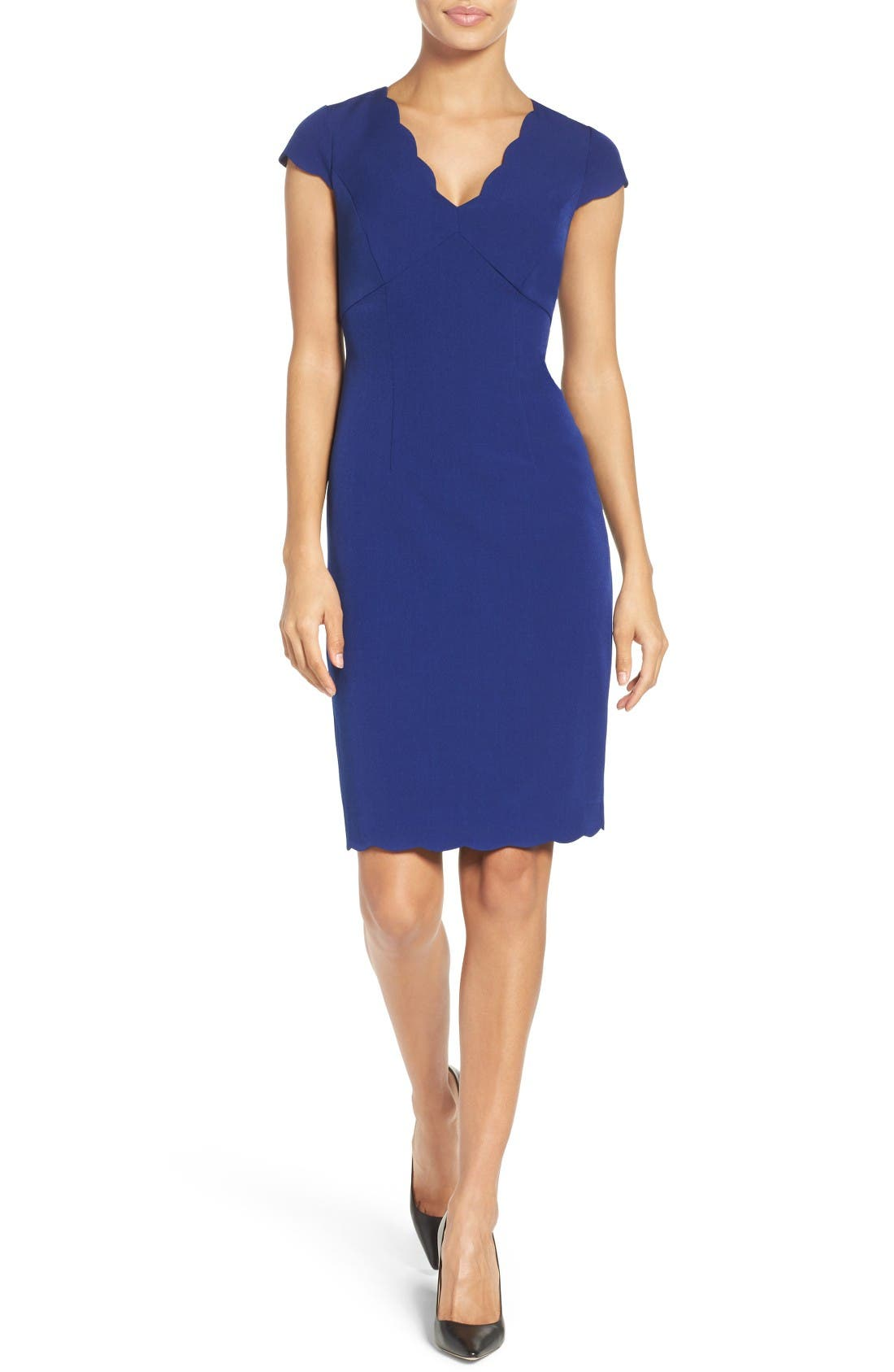 Alternate Image 4  - Adrianna Papell Scalloped Crepe Sheath Dress (Regular & Petite)