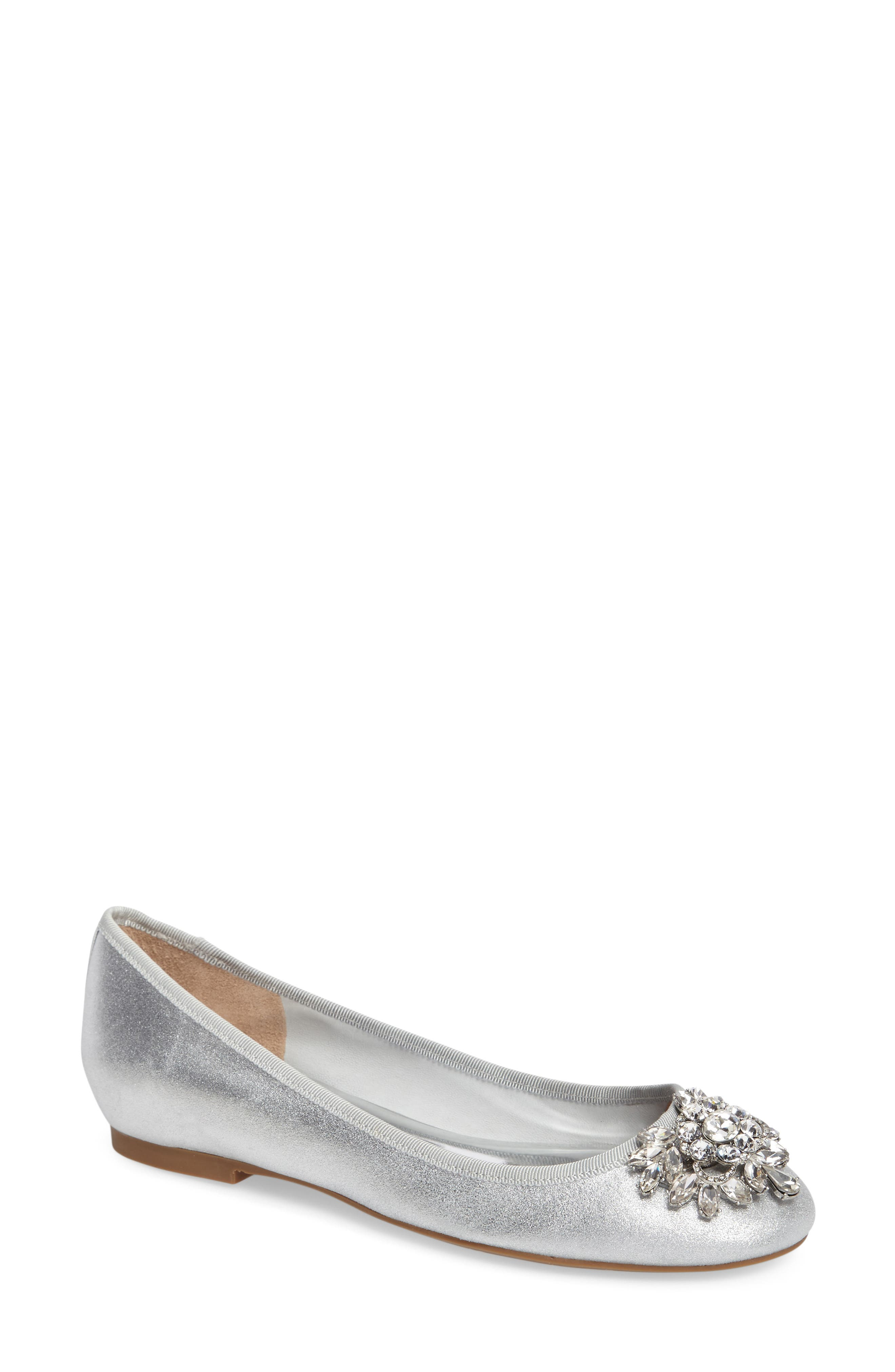 Bianca Embellished Ballet Flat,                             Main thumbnail 1, color,                             Silver Metallic Suede