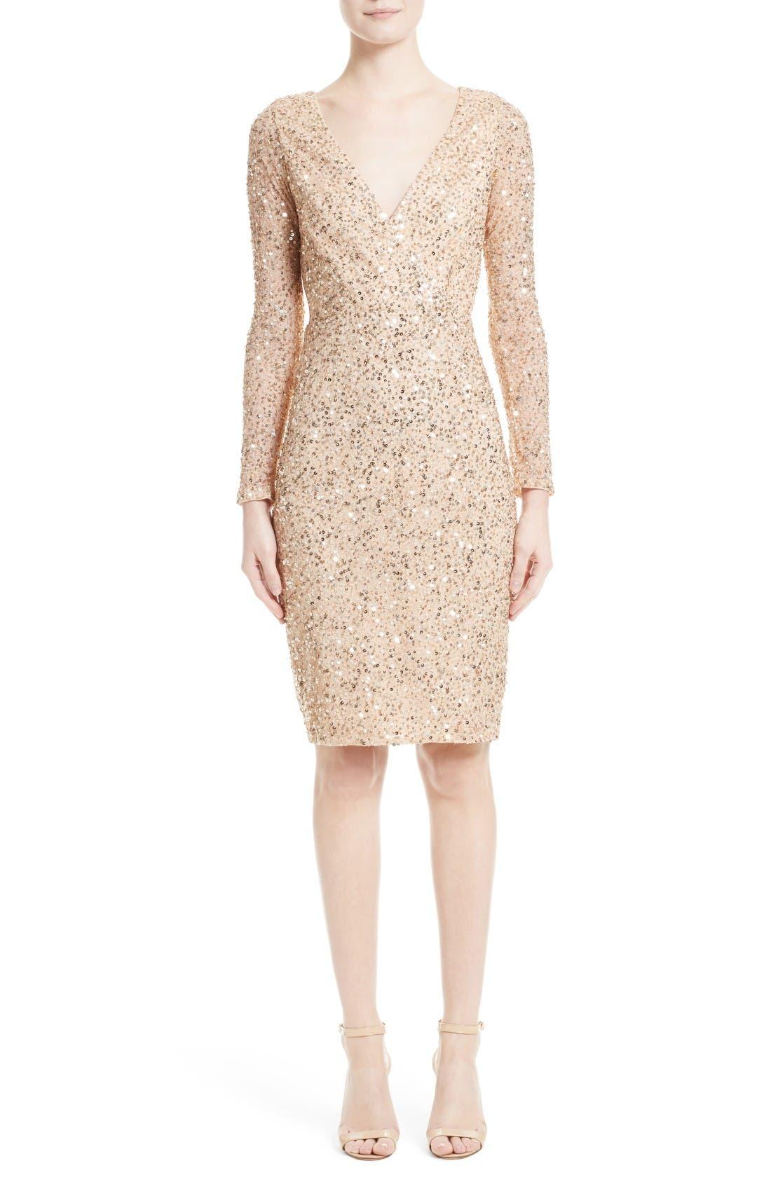 Sequin Body-Con Dress,                             Main thumbnail 1, color,                             Gold