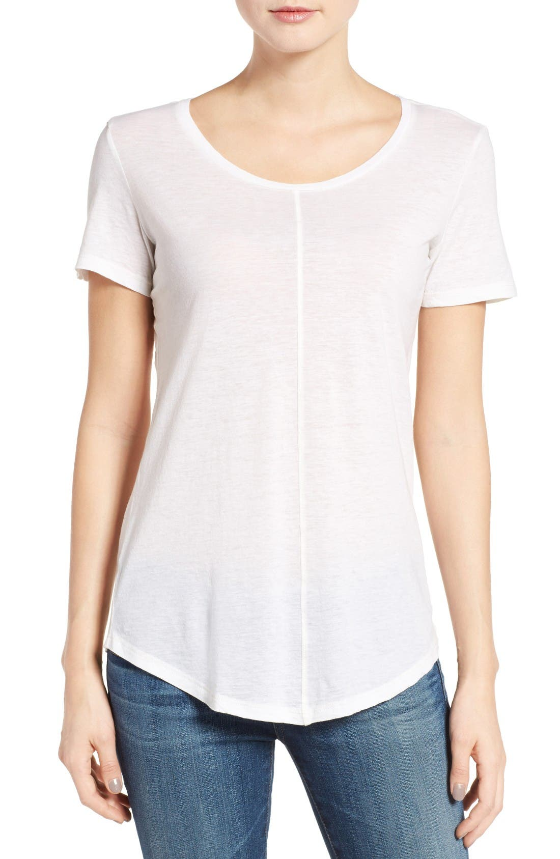 The Jade Cotton & Cashmere Tee,                         Main,                         color, Powder White
