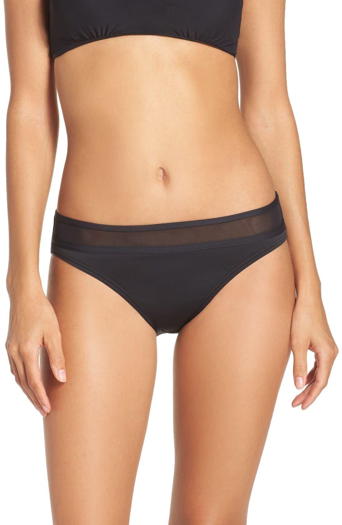 Mesh Bikini Bottoms,                         Main,                         color, Black