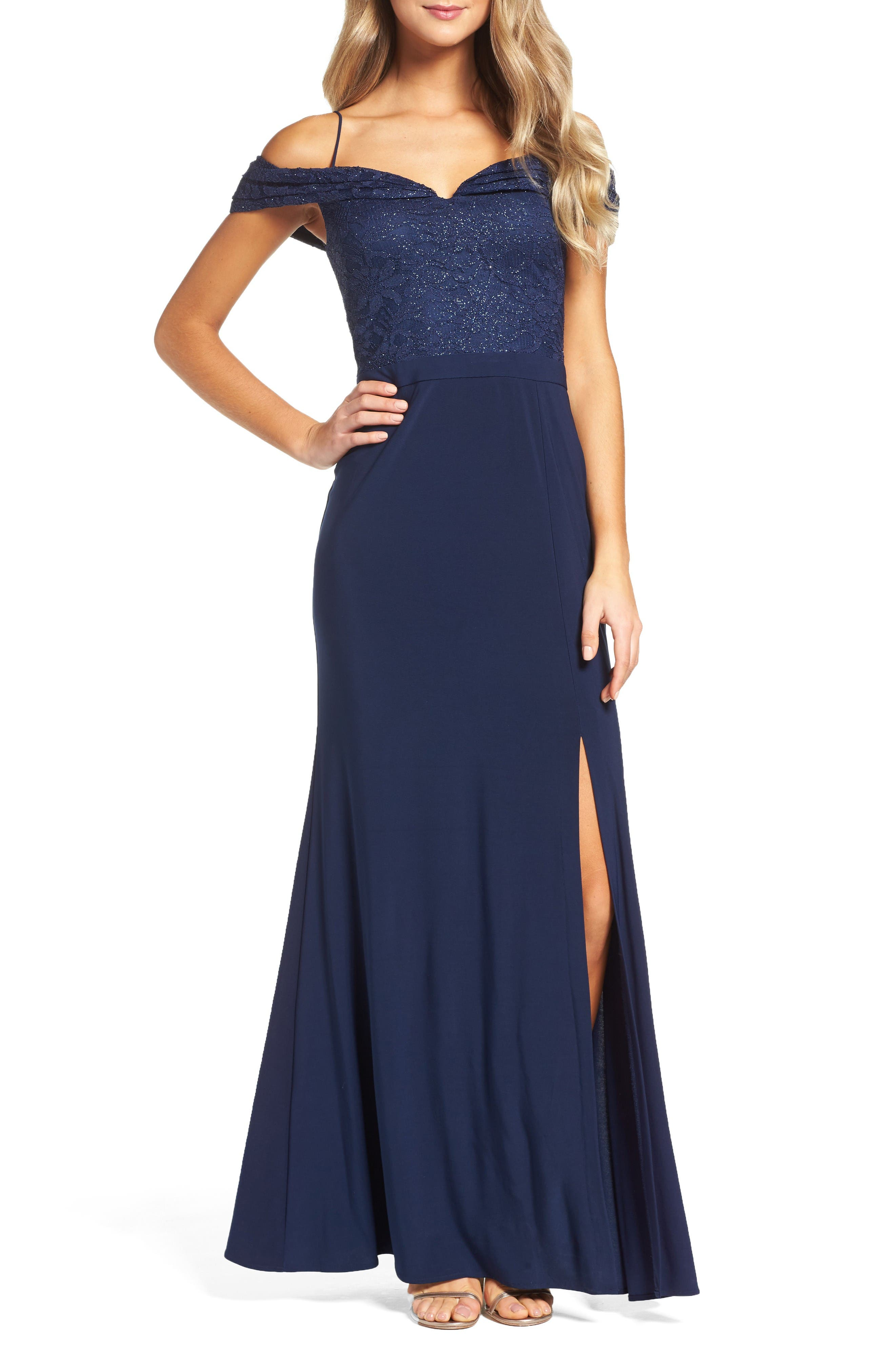 Main Image - Morgan & Co. Sparkle Off the Shoulder Gown