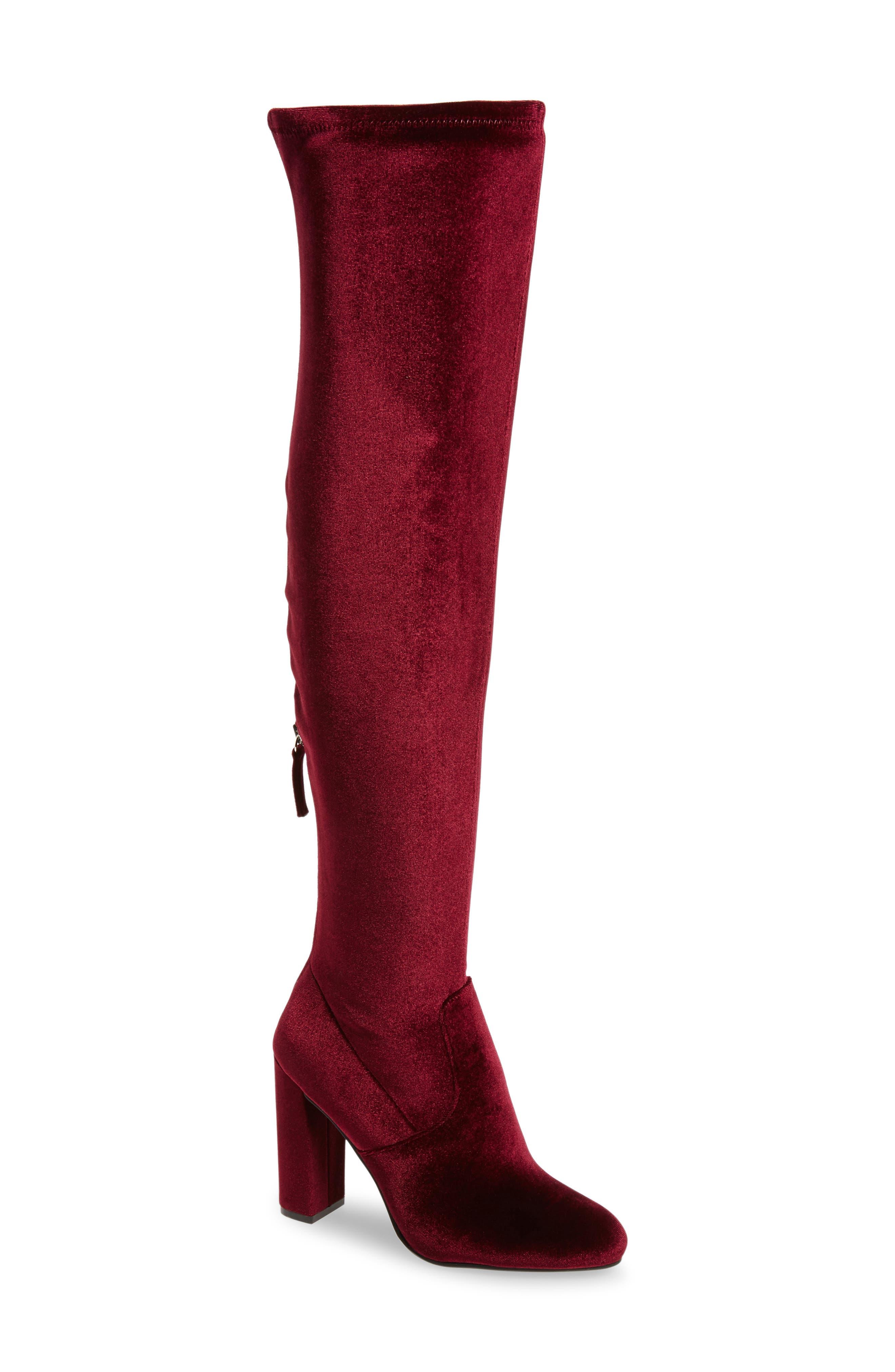 Emotionv Over the Knee Boot,                         Main,                         color, Burgundy Velvet