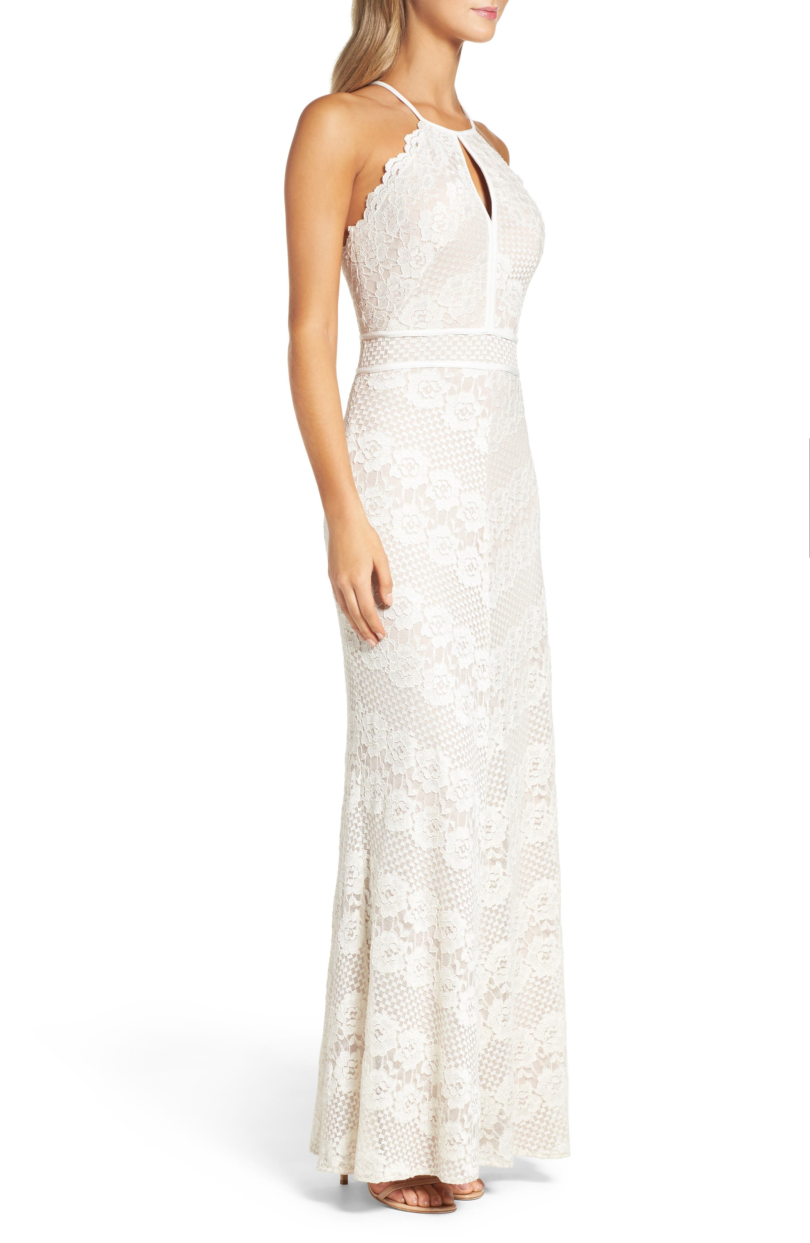 Crisscross Lace Gown,                             Alternate thumbnail 3, color,                             Ivory/ Nude