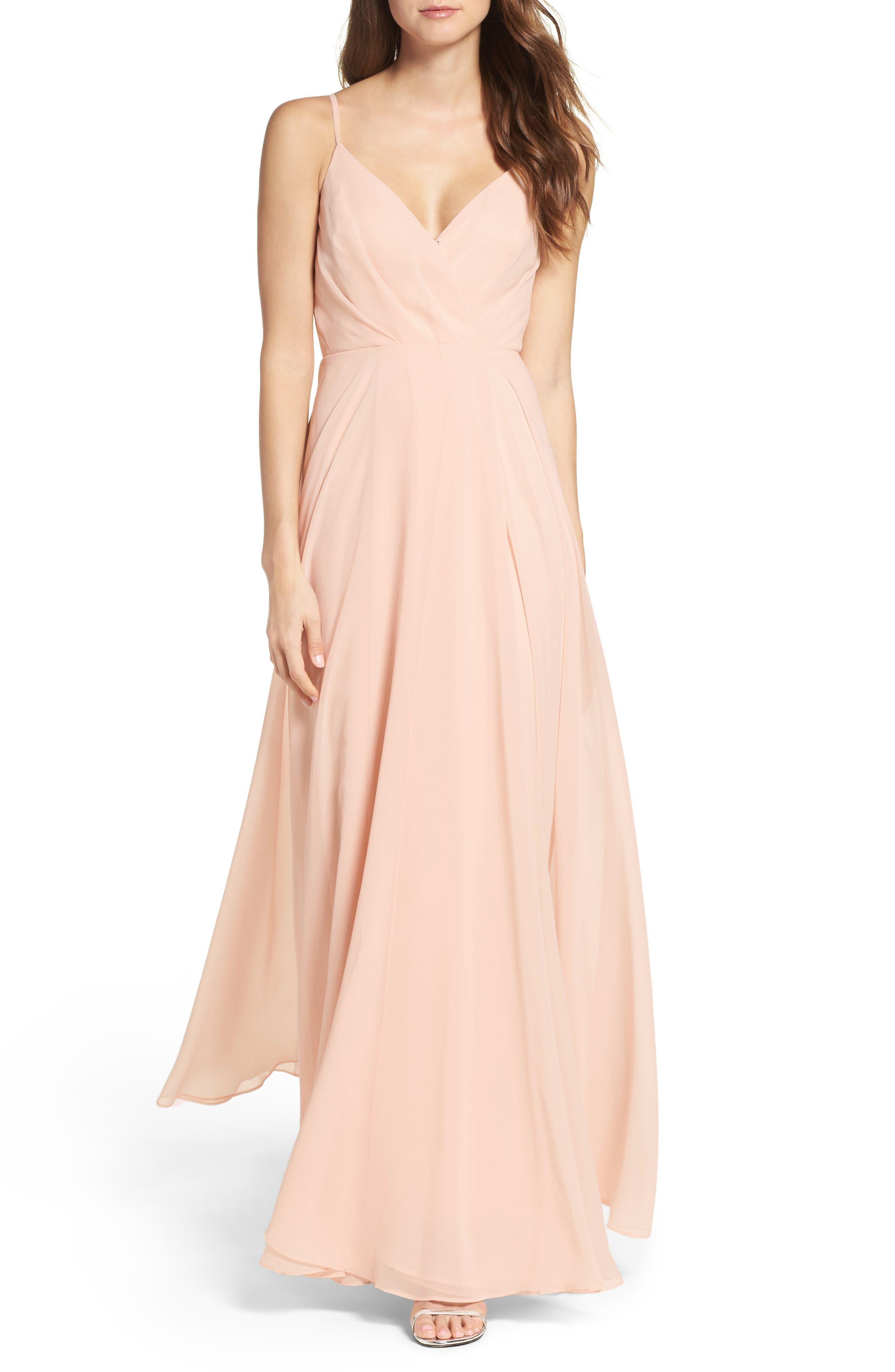Surplice Chiffon Gown,                         Main,                         color, Blush