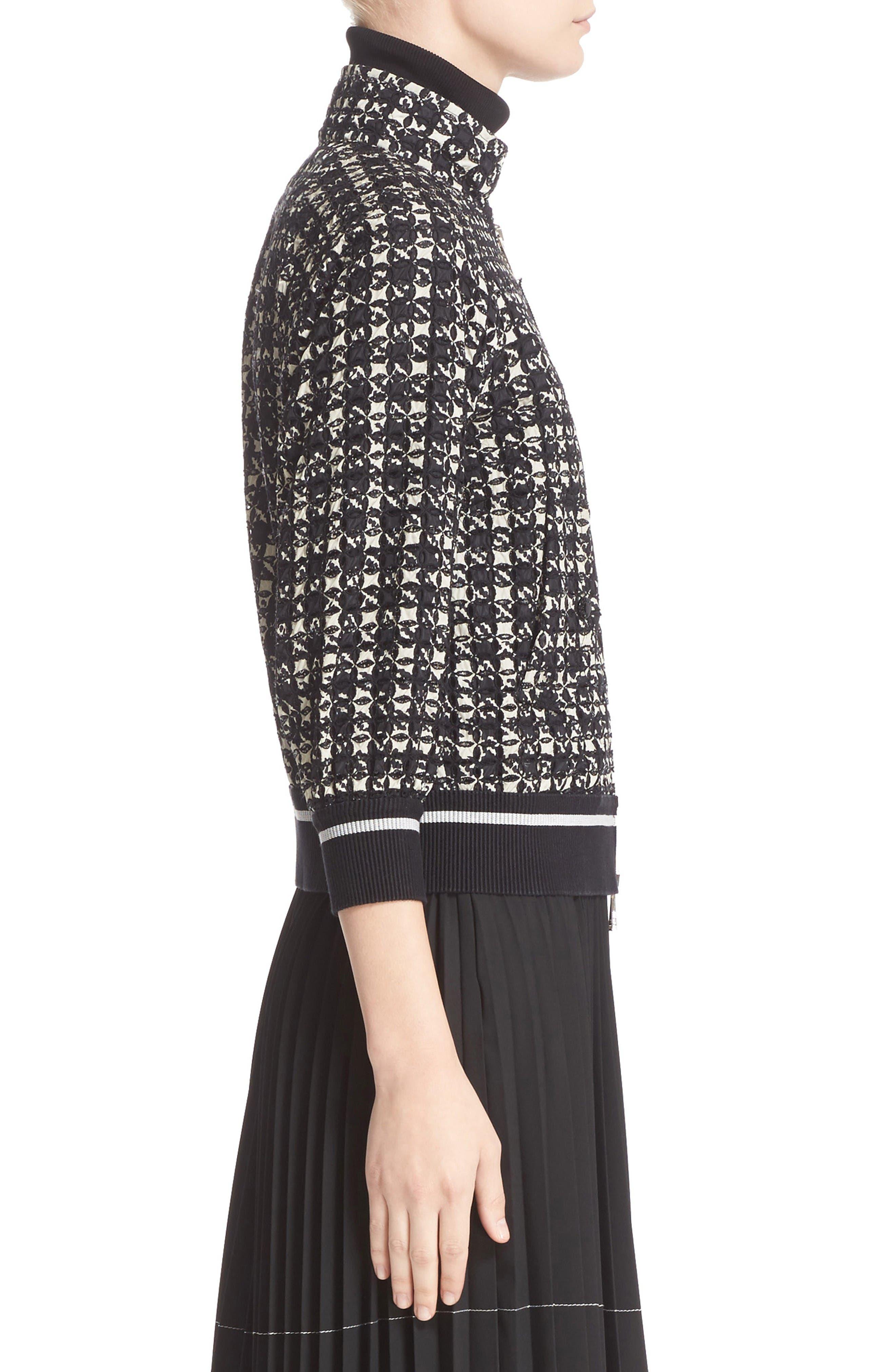 Fiadone Tweed Print Jacket,                             Alternate thumbnail 4, color,                             Black