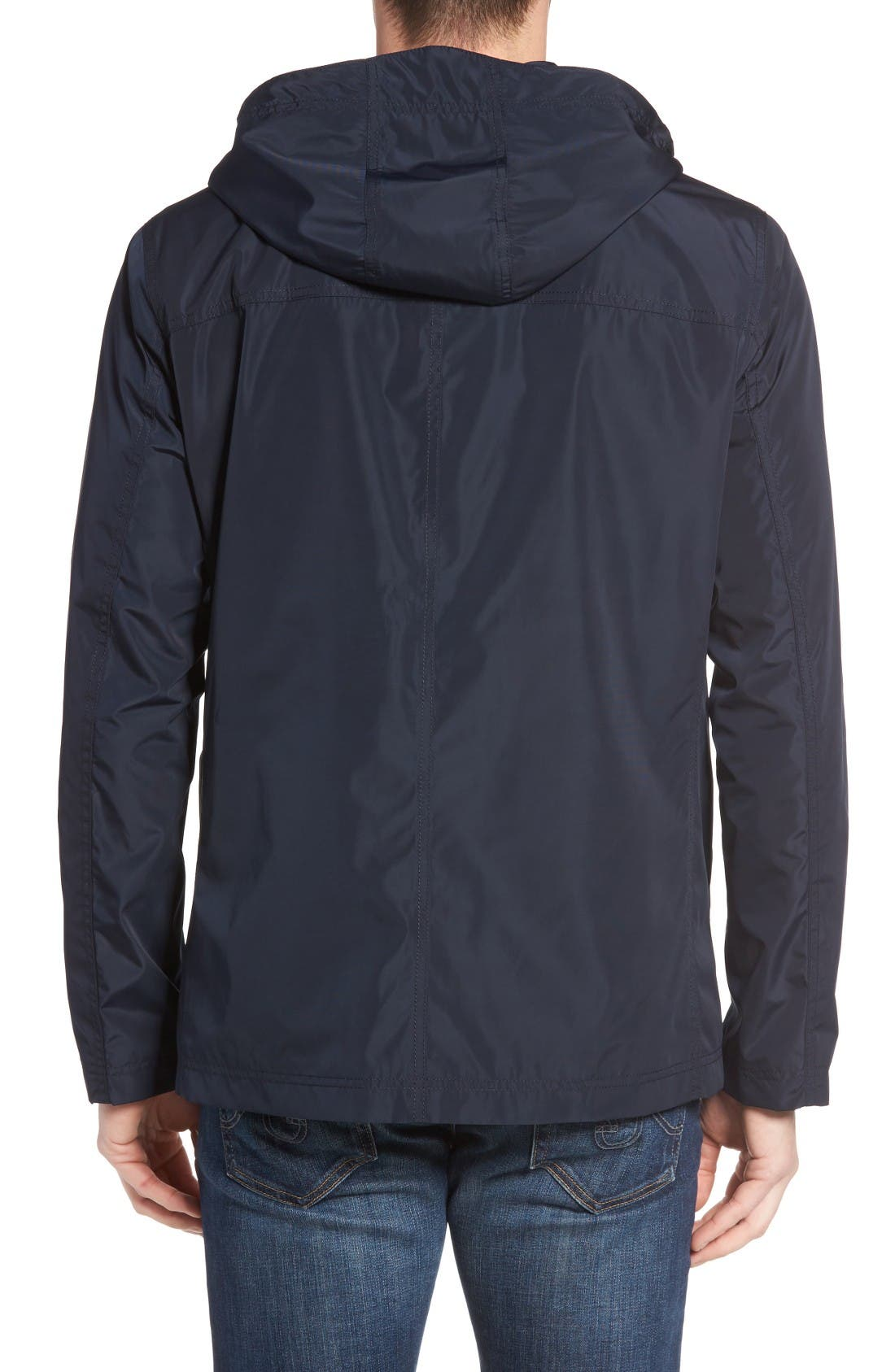 Packable Hooded Rain Jacket,                             Alternate thumbnail 2, color,                             Navy