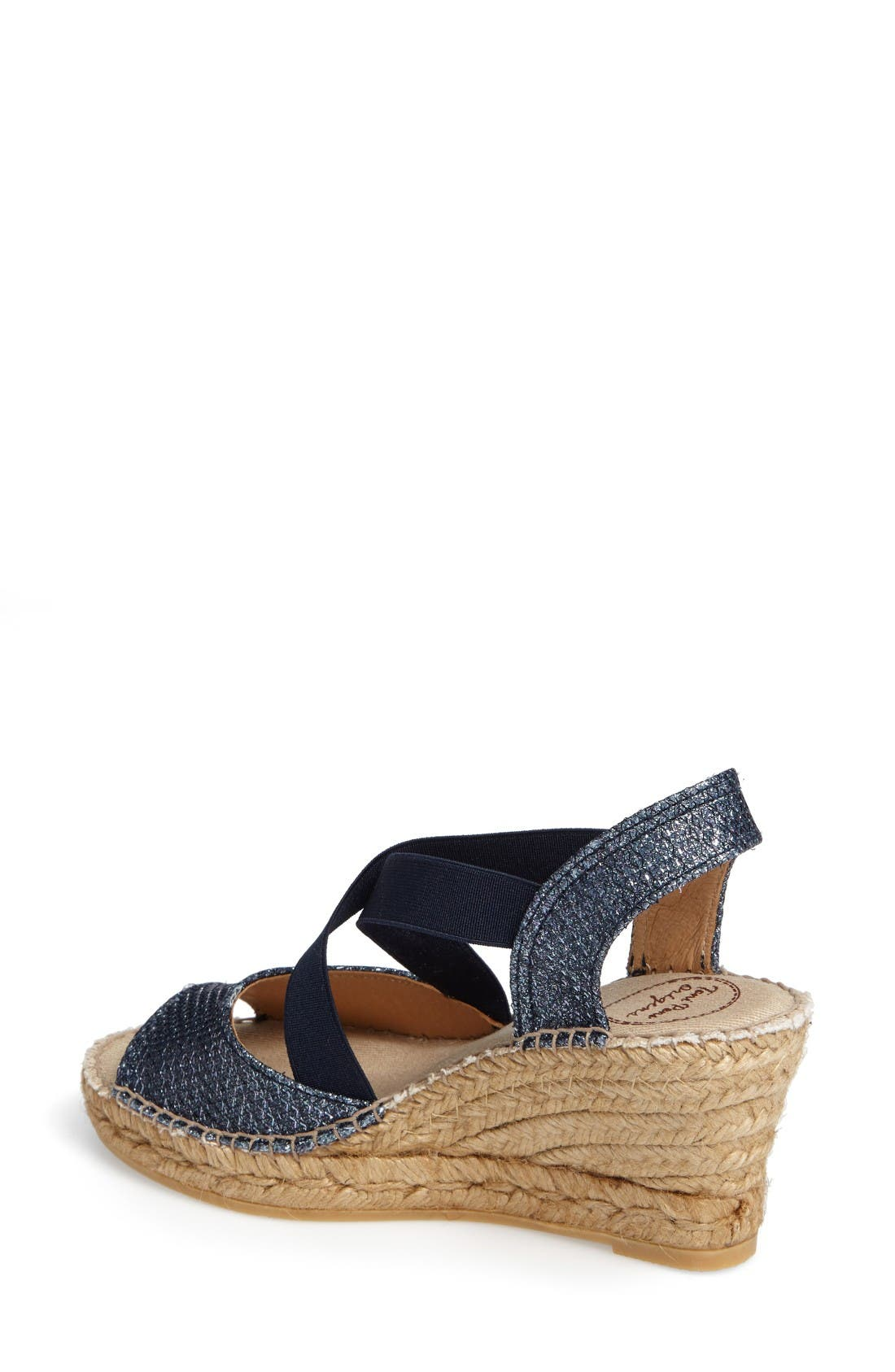 Sol Wedge Espadrille Sandal,                             Alternate thumbnail 2, color,                             Navy Fabric