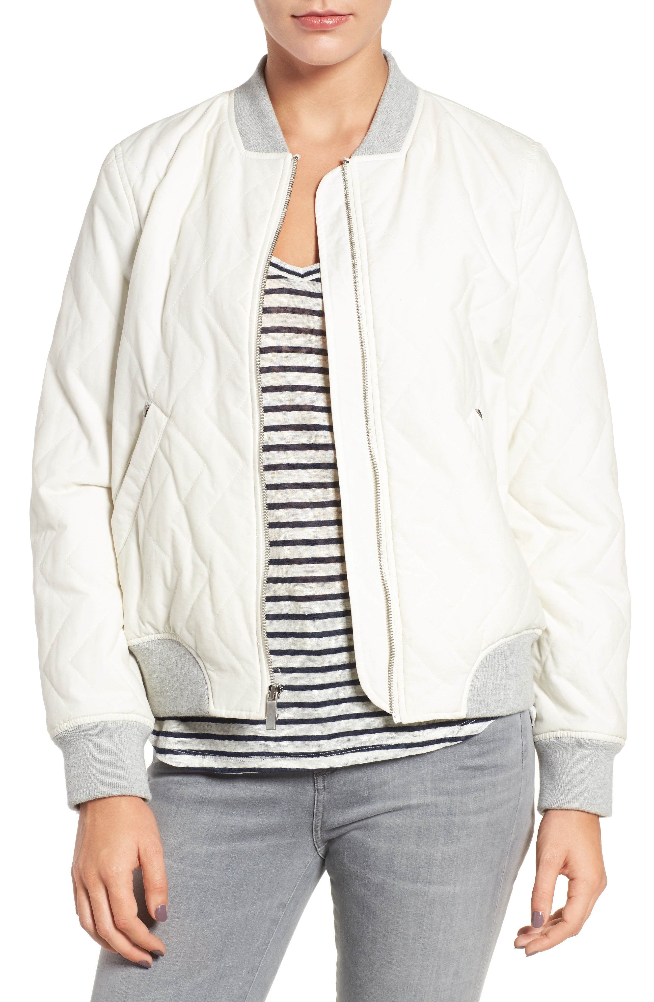 Main Image - French Connection Quilted Bomber Jacket