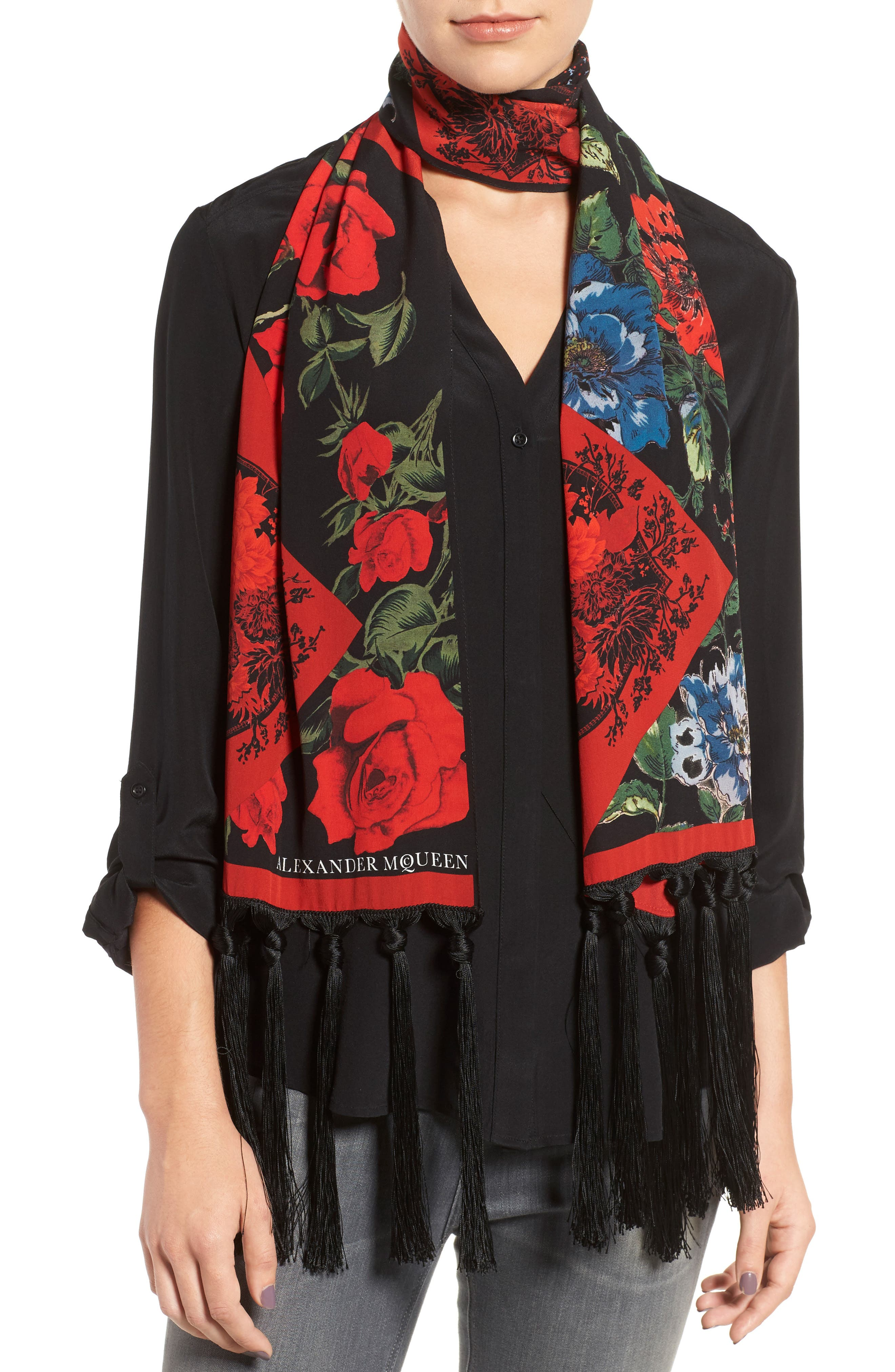 Floral Silk Scarf,                             Alternate thumbnail 2, color,                             Black/ Red