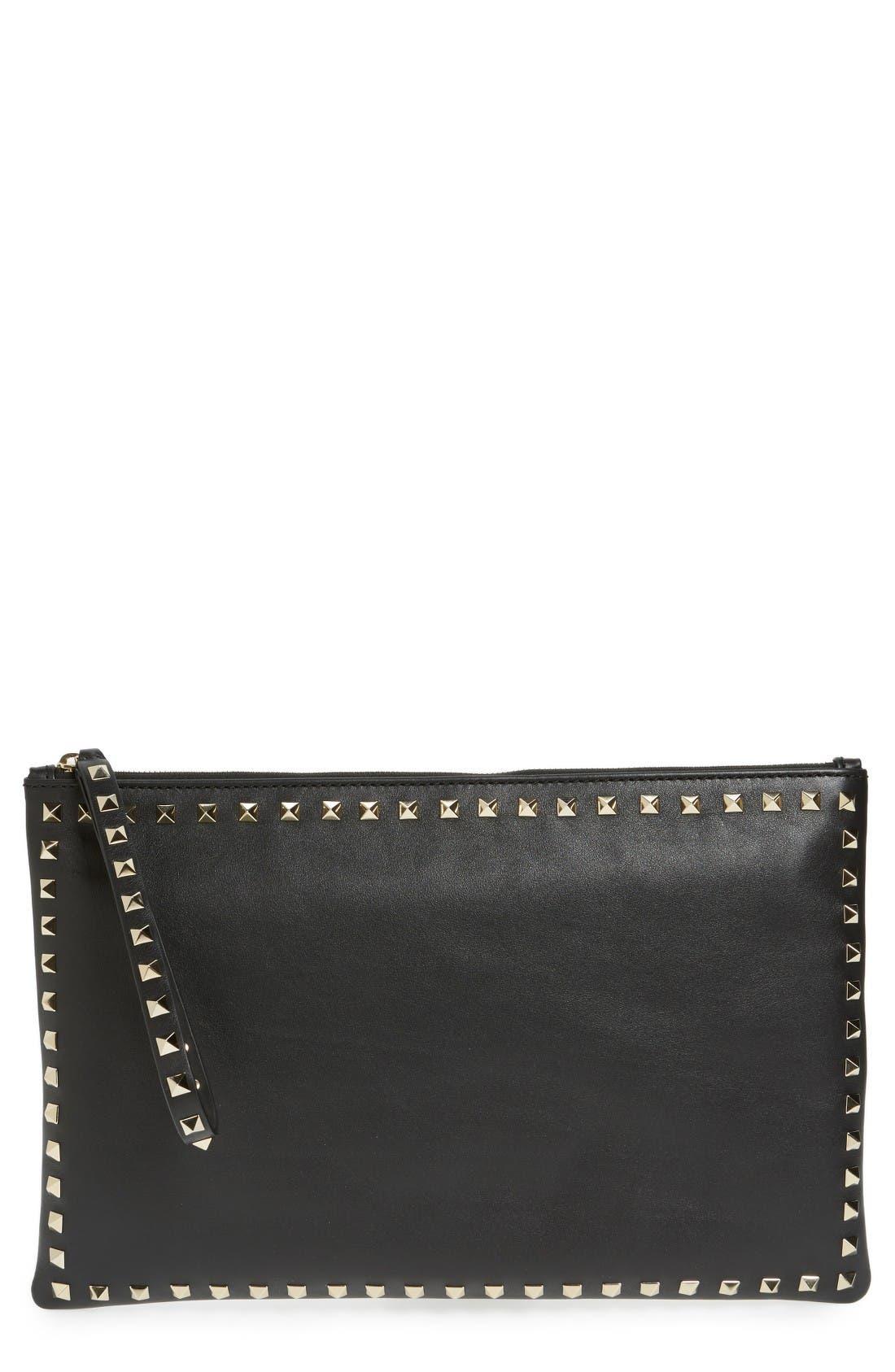 Valentino Small Rockstud Vitello Leather Clutch,                         Main,                         color, Nero