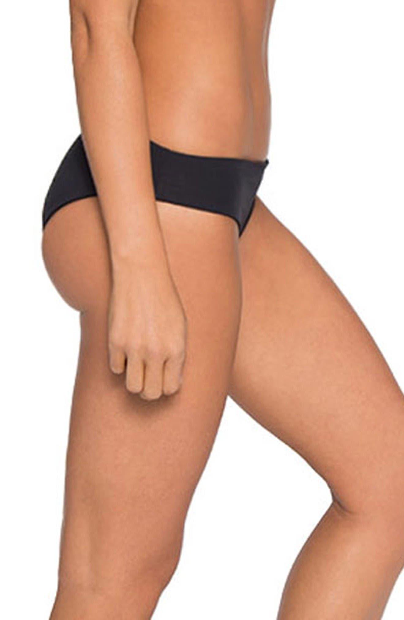 'Ali' Moderate Coverage Bikini Bottoms,                             Alternate thumbnail 3, color,                             Black