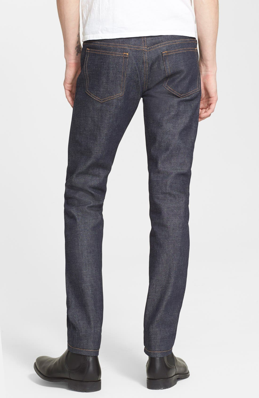Petit New Standard Slim Straight Leg Selvedge Jeans,                             Alternate thumbnail 3, color,                             Indigo Wash