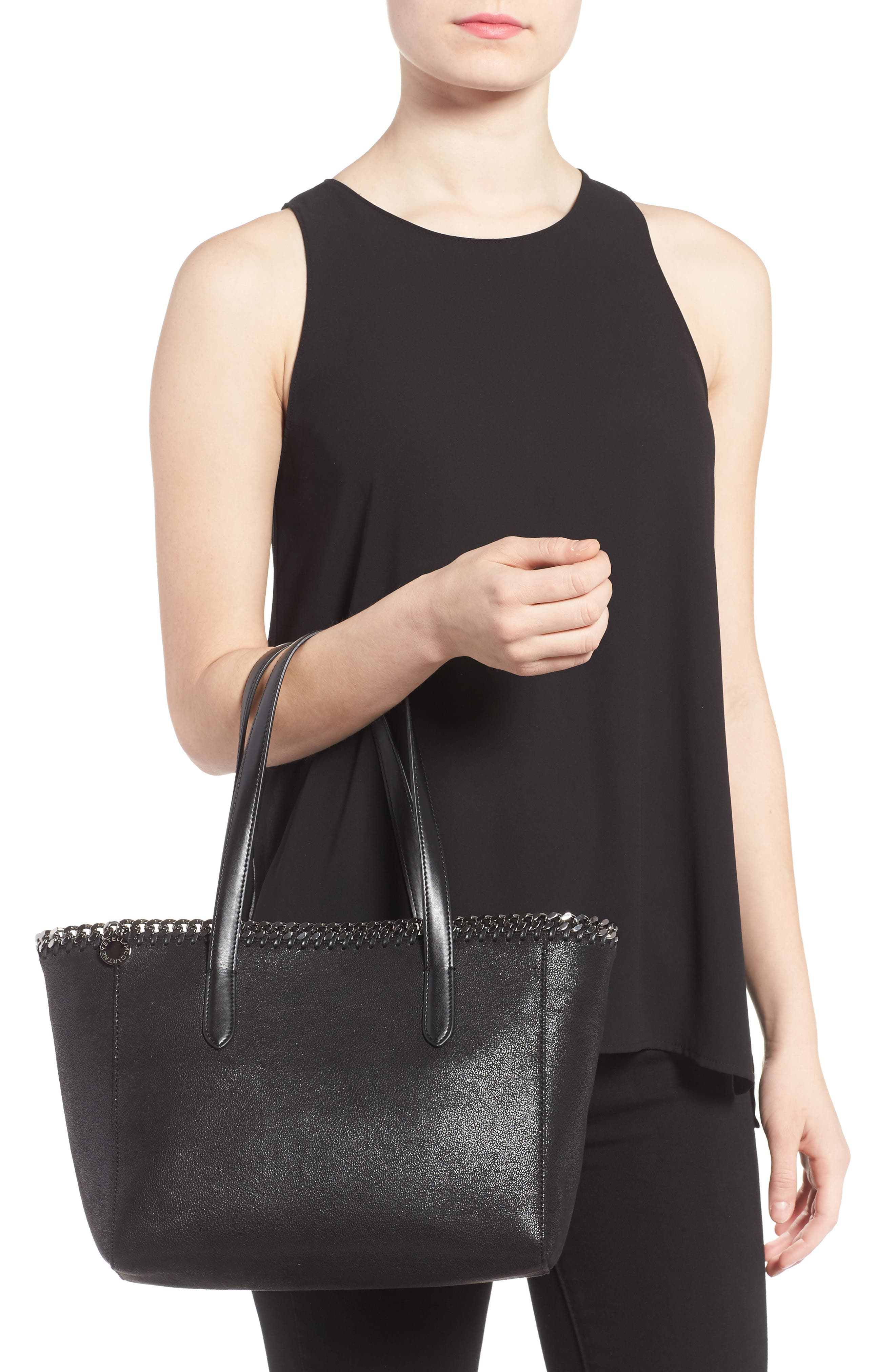 Small Falabella Shaggy Deer Faux Leather Tote,                             Alternate thumbnail 2, color,                             Black