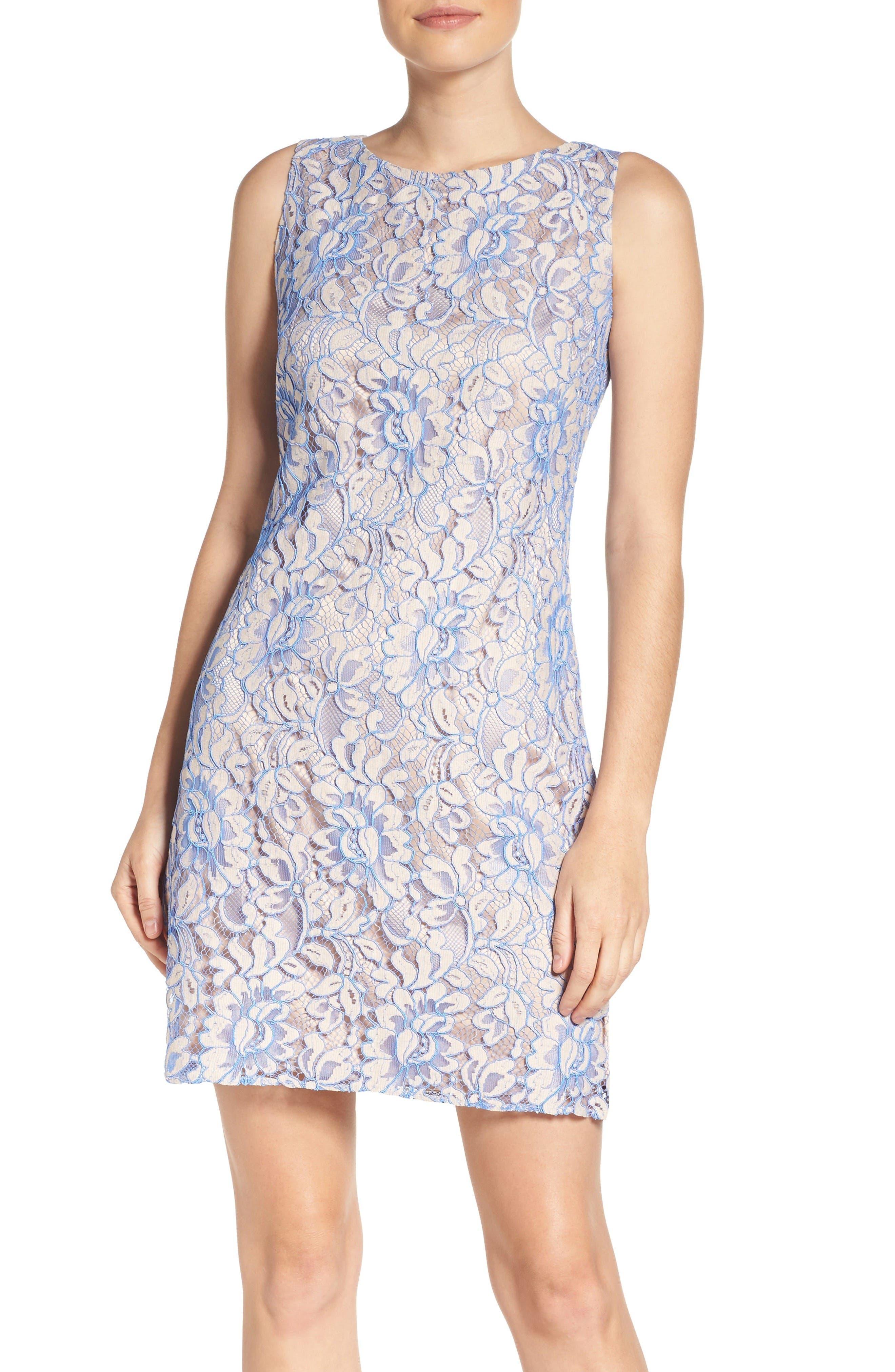 Lace Shift Dress,                         Main,                         color, Nude/ Blue