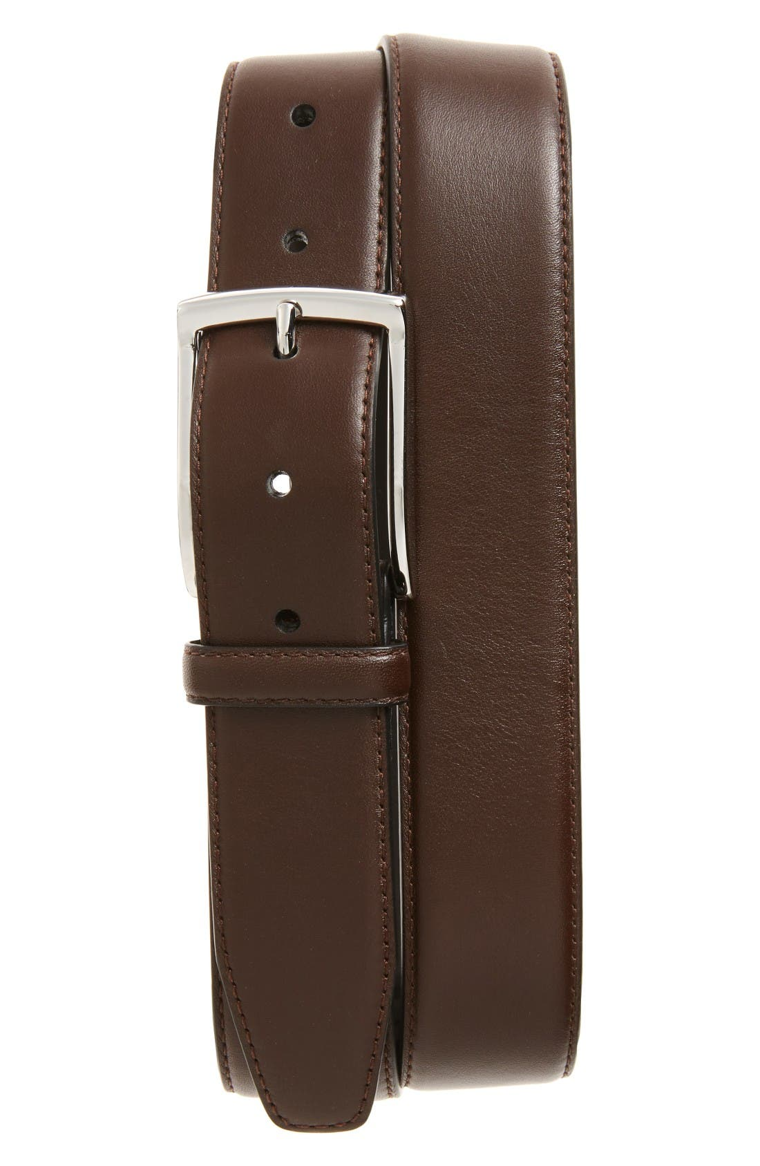Nappa Leather Belt,                         Main,                         color, Brown