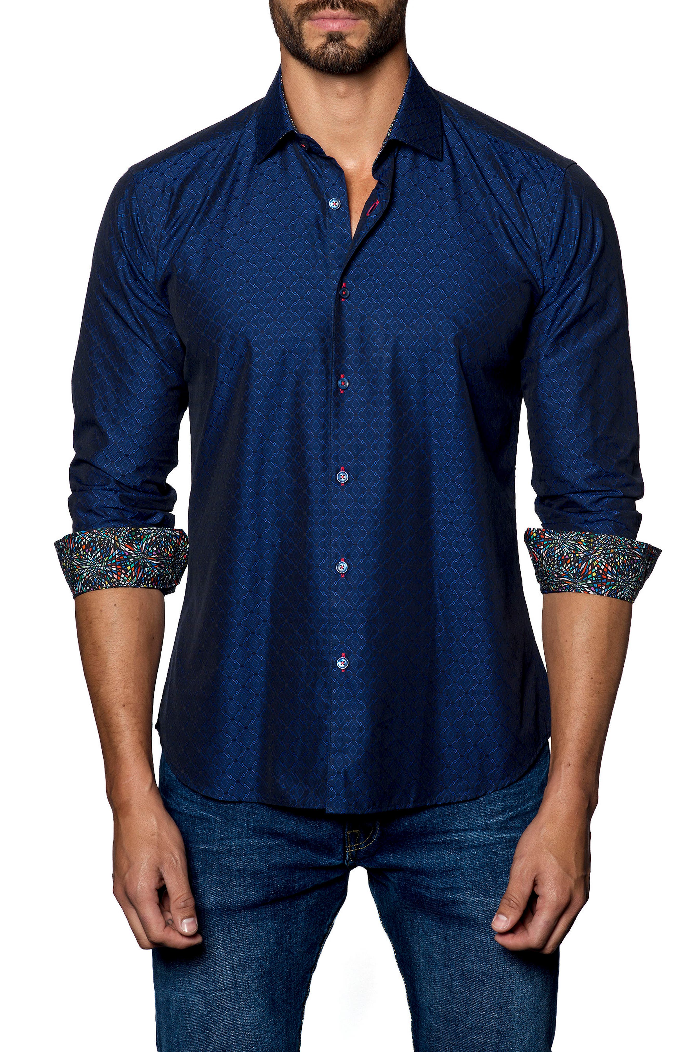 Trim Fit Solid Sport Shirt,                         Main,                         color, Midnight Navy