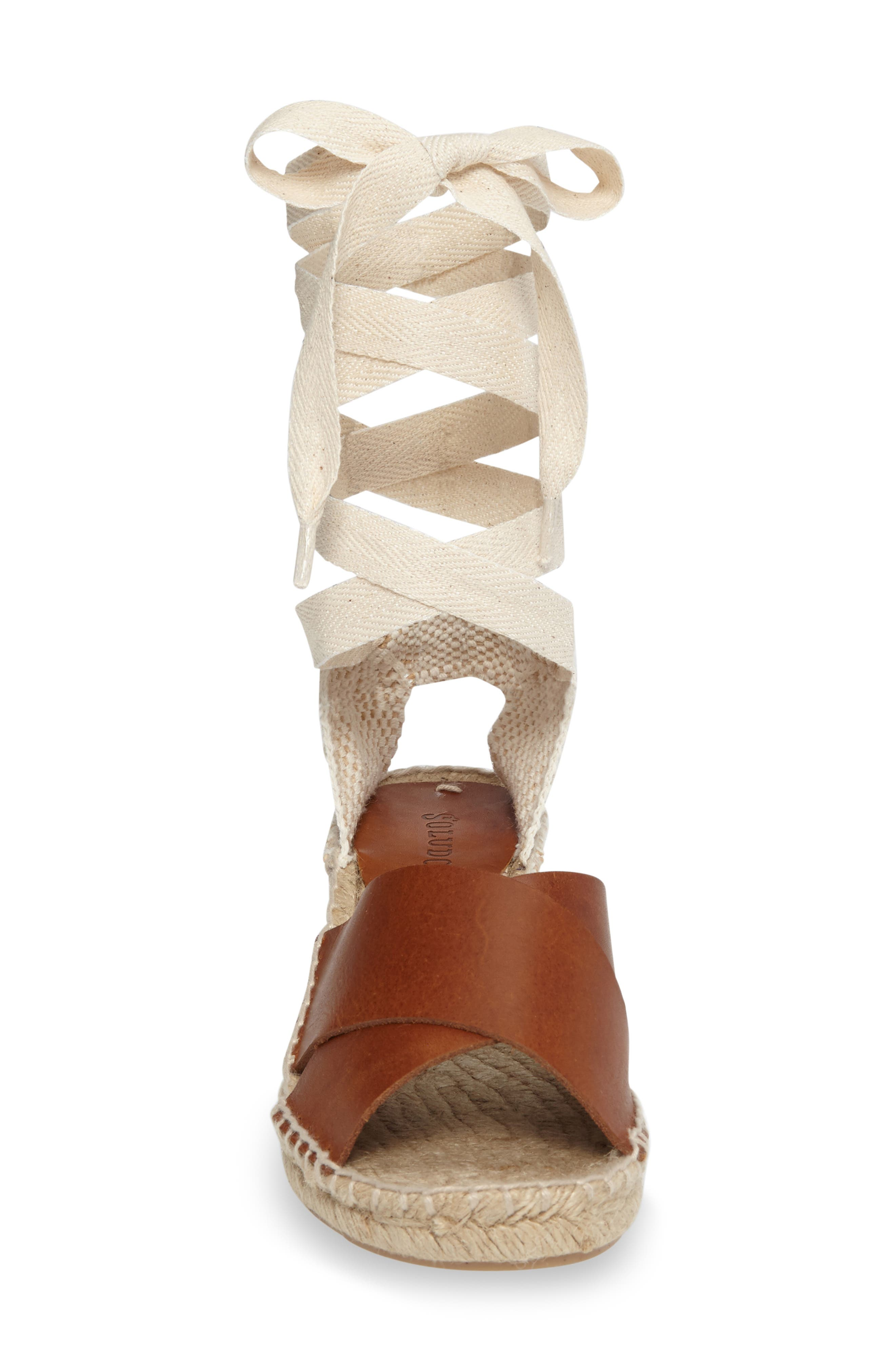 Espadrille Wedge,                             Alternate thumbnail 3, color,                             Camel Leather