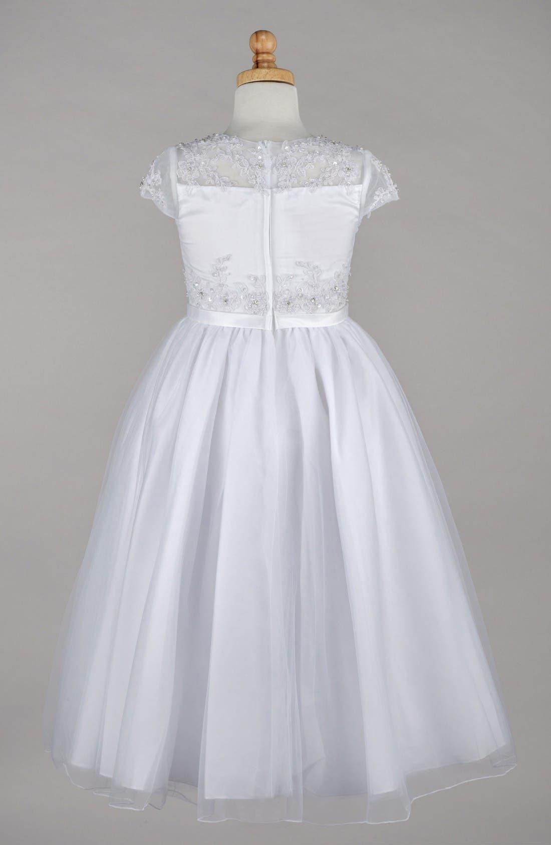 Alternate Image 2  - Lauren Marie Beaded Lace Bodice First Communion Dress (Little Girls & Big Girls)