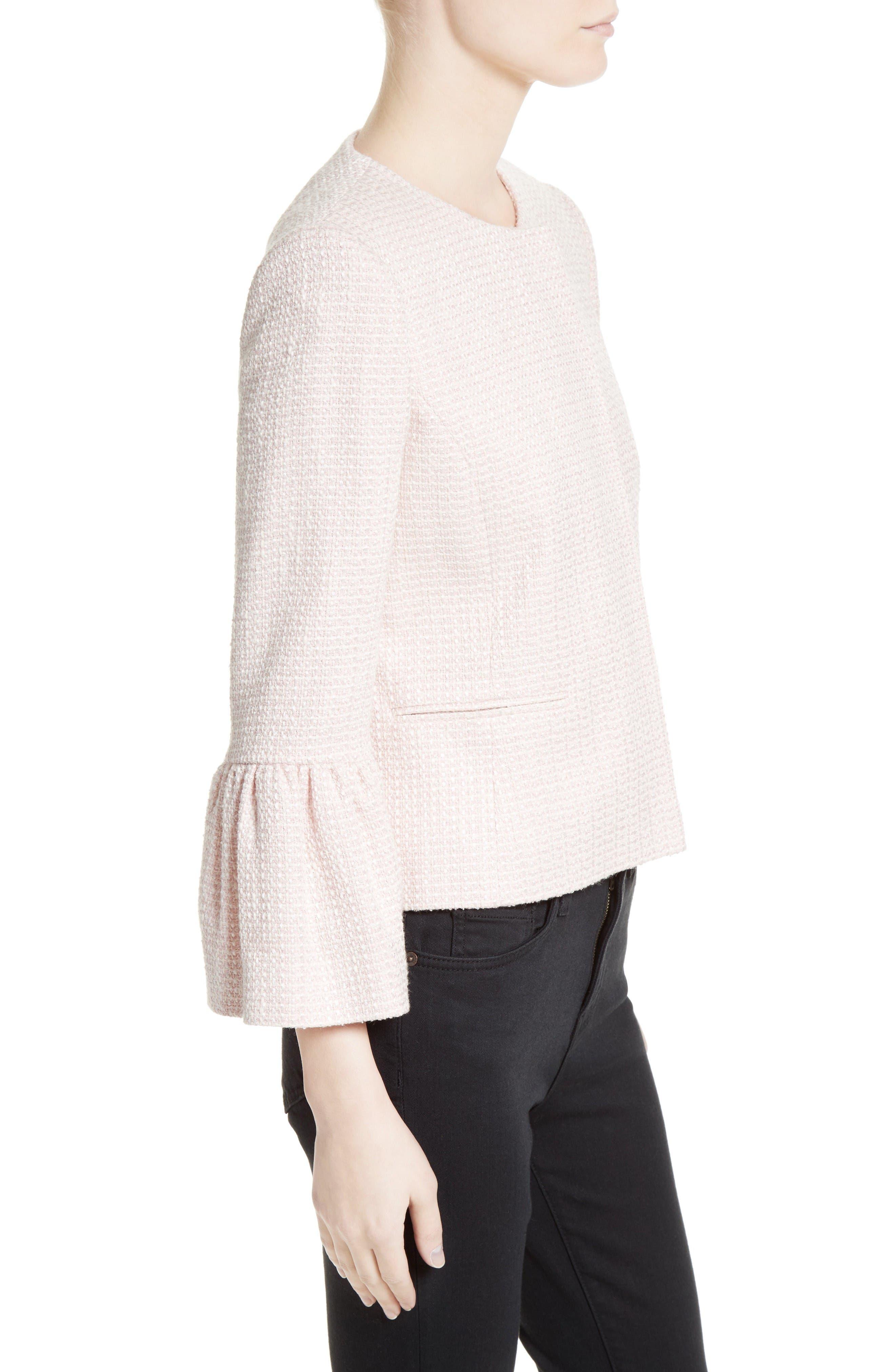Tweed Jacket,                             Alternate thumbnail 4, color,                             Pale Pink/ Ivory