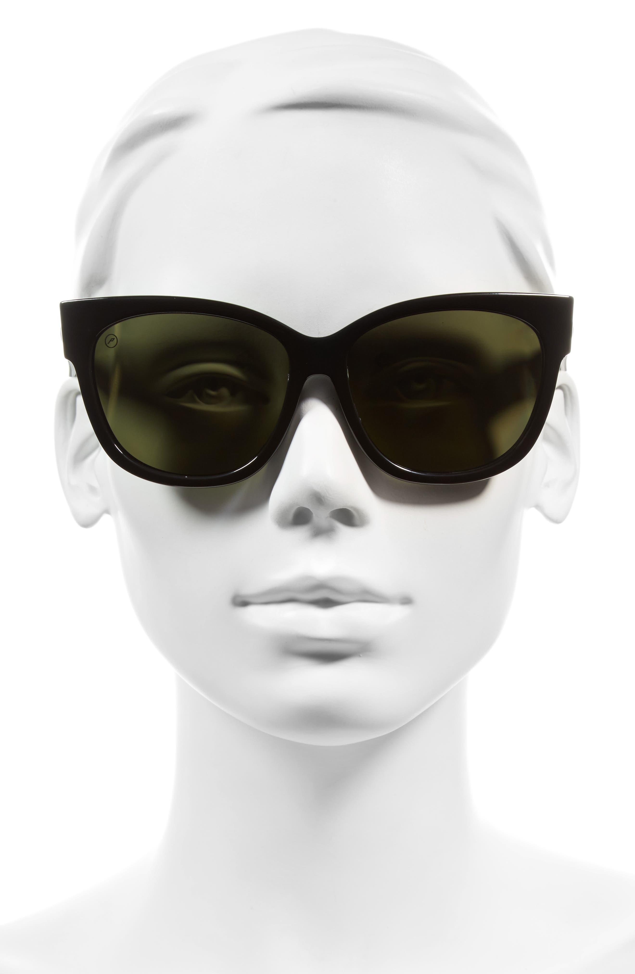 Danger Cat 58mm Sunglasses,                             Alternate thumbnail 2, color,                             Gloss Black/ Polarized Grey