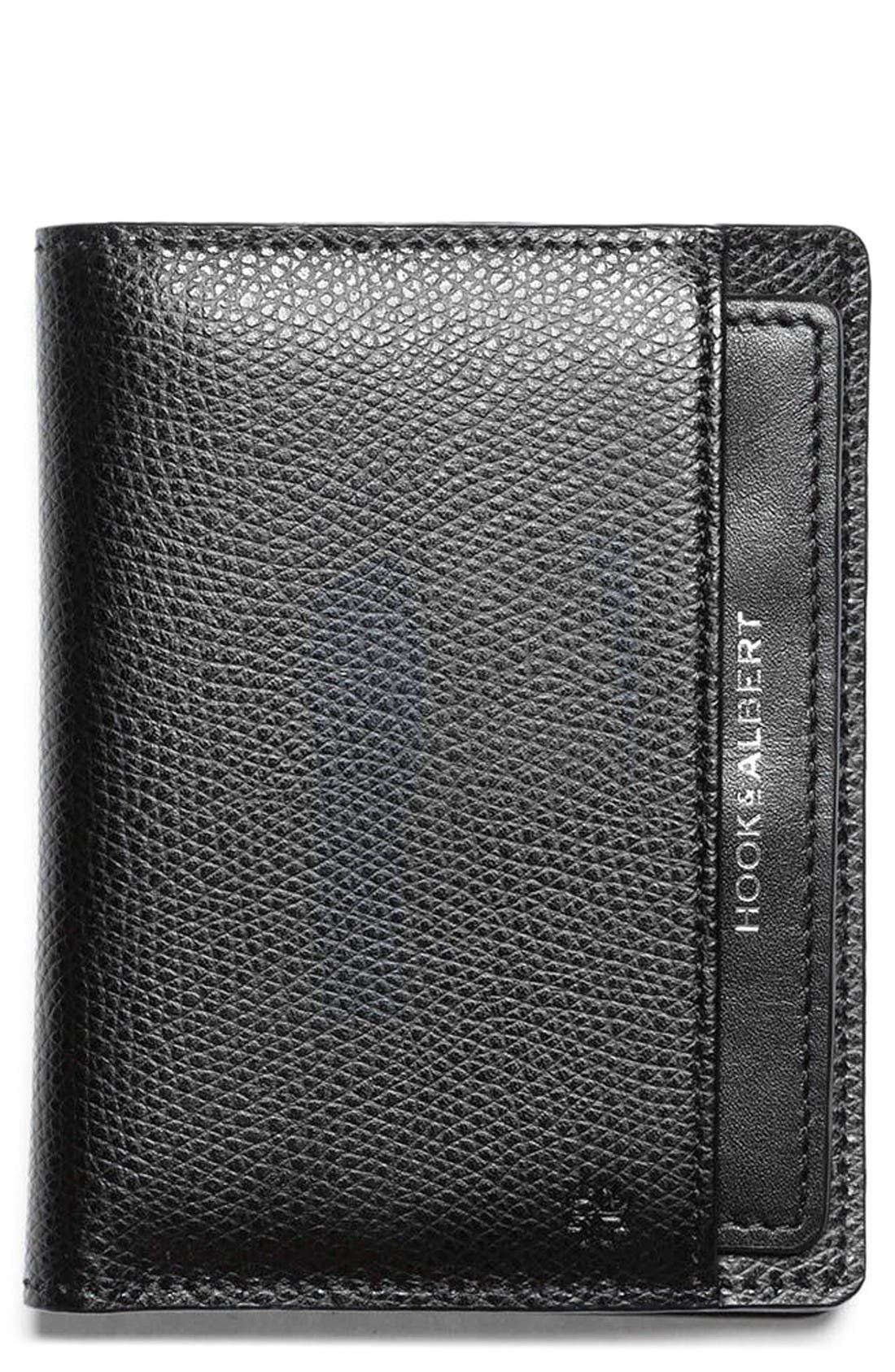 Leather Bifold Wallet,                             Main thumbnail 1, color,                             Black