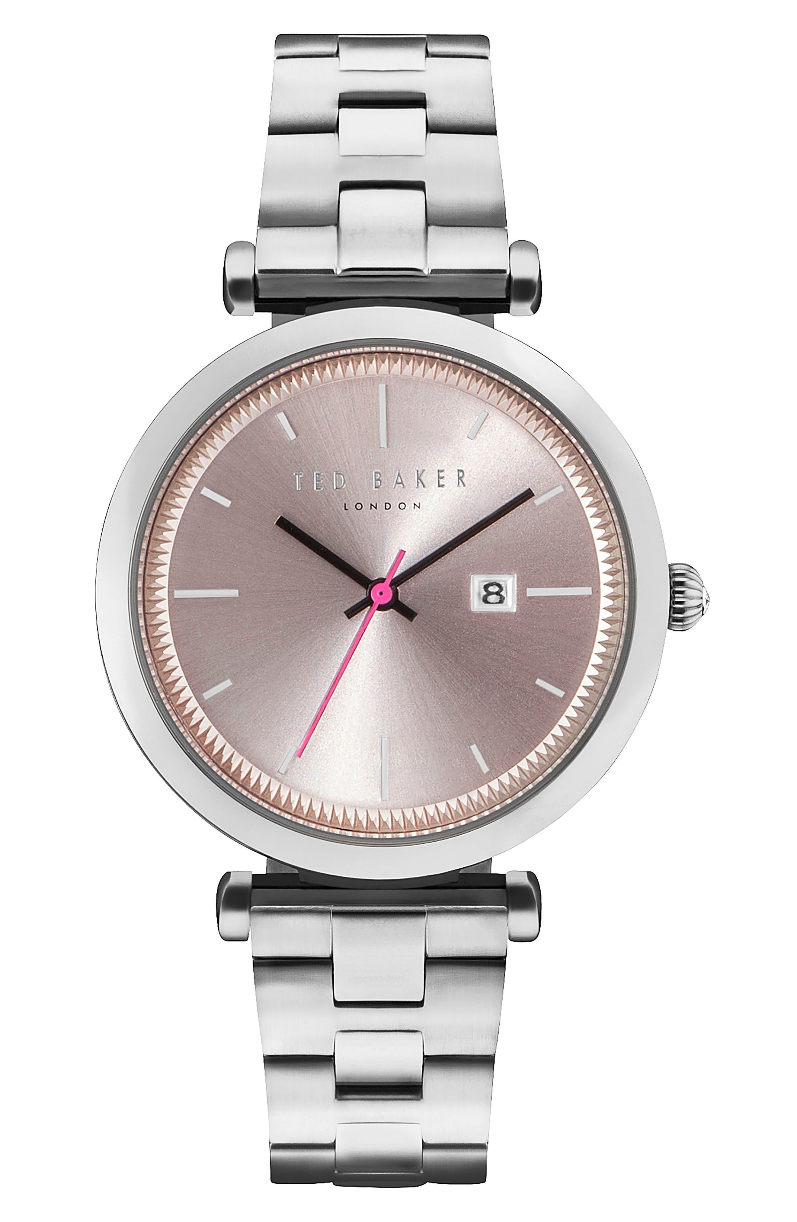 Ava Bracelet Watch, 36mm,                             Main thumbnail 1, color,                             Silver/ Pink