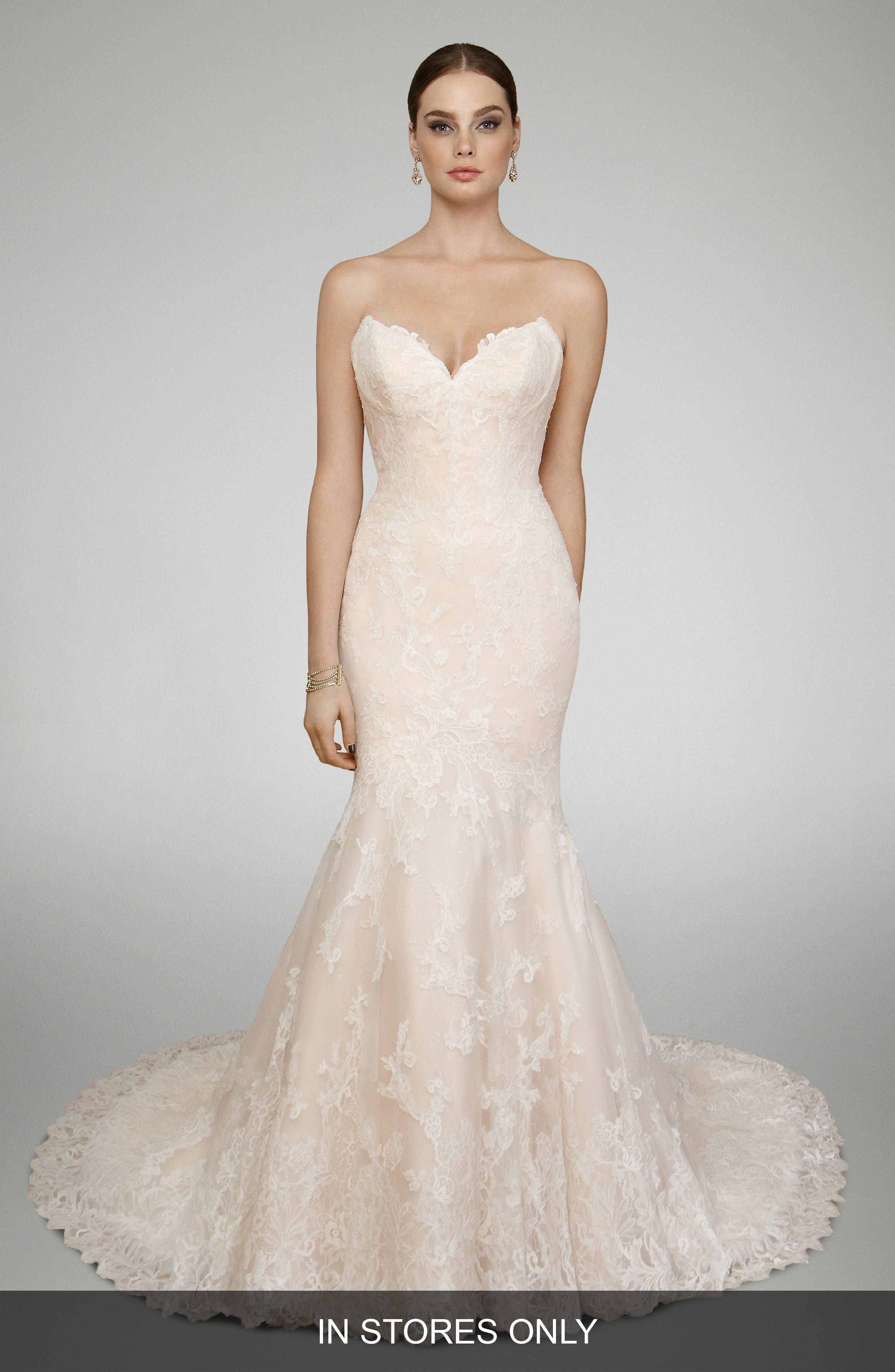 Captivating Matthew Christopher Tyler Strapless Chantilly Lace Trumpet Gown
