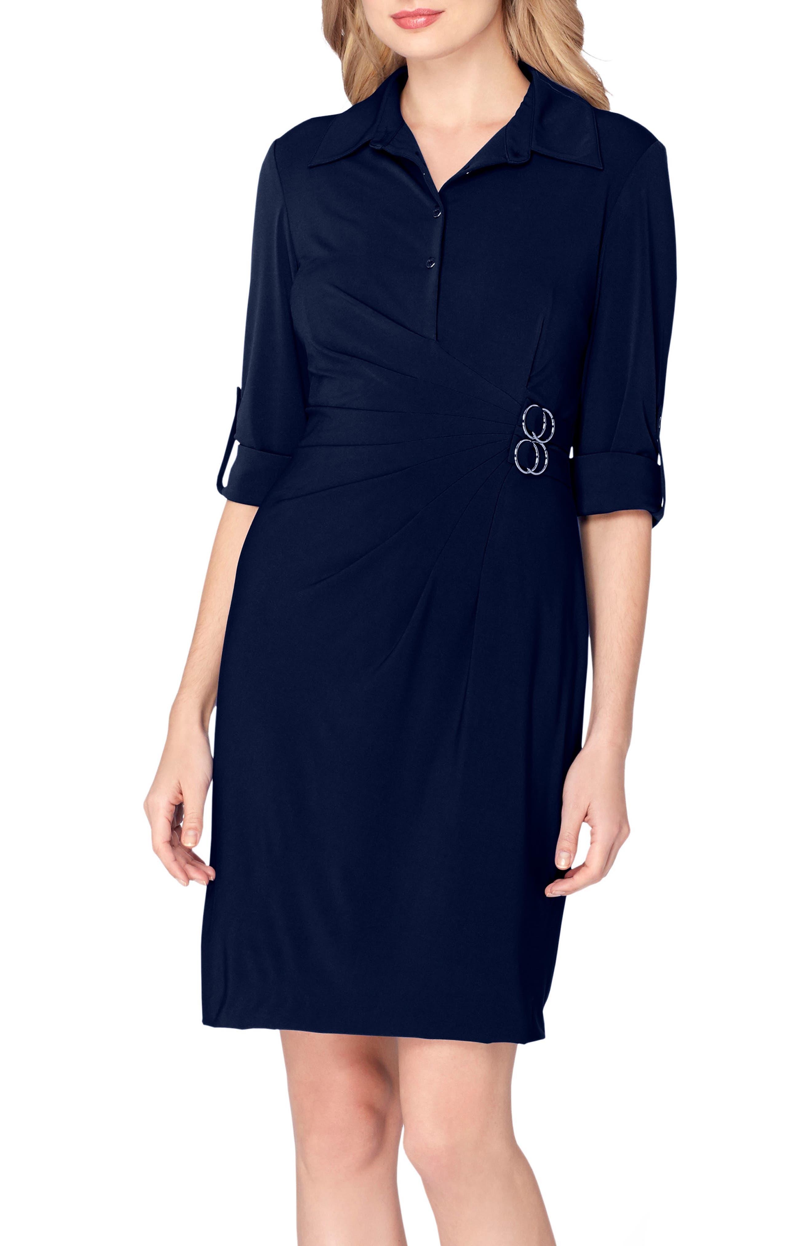 Jersey Wrap Shirtdress,                         Main,                         color, Navy