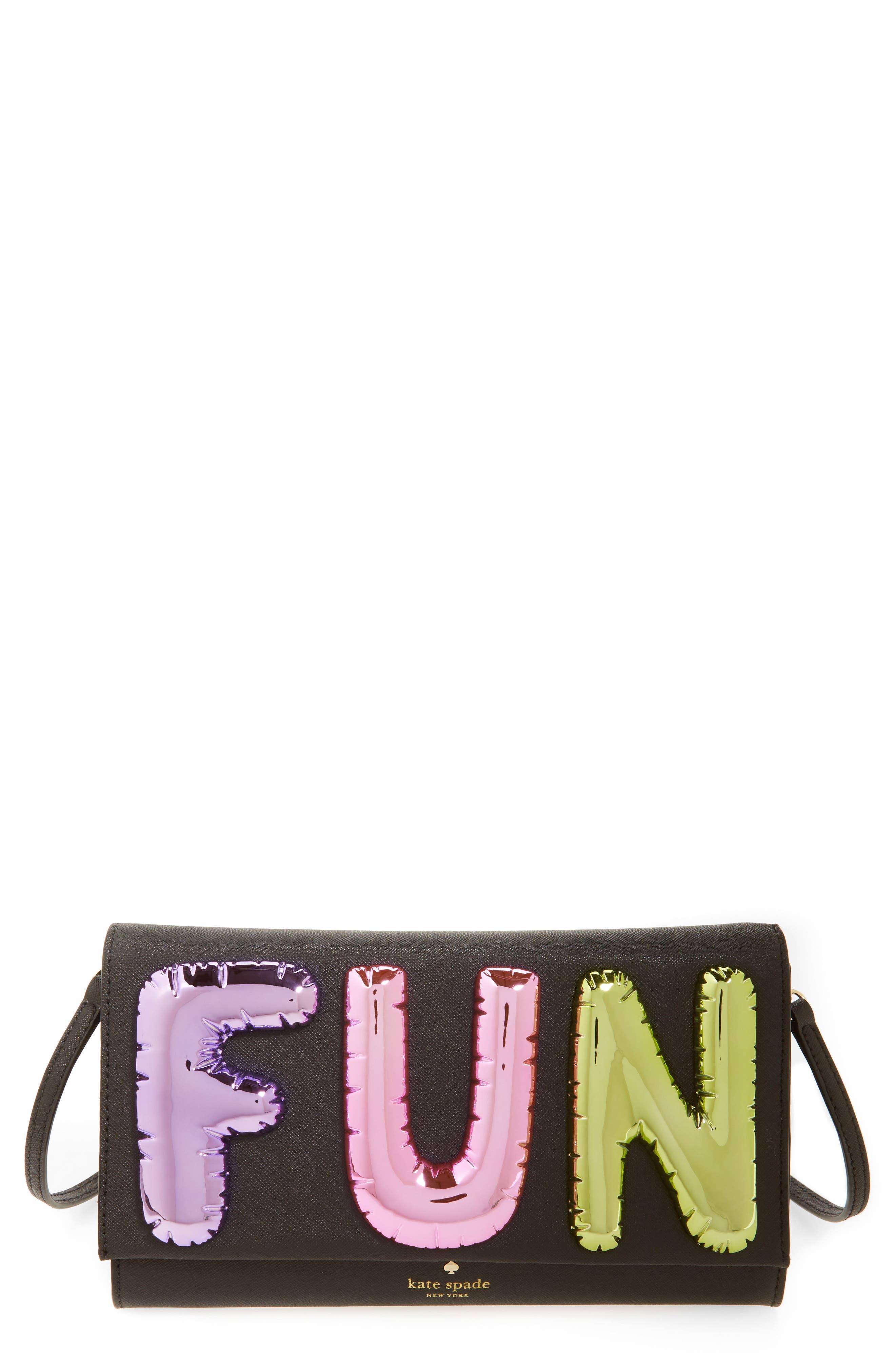 whimsies fun balloon saffiano leather clutch,                             Main thumbnail 1, color,                             Multi