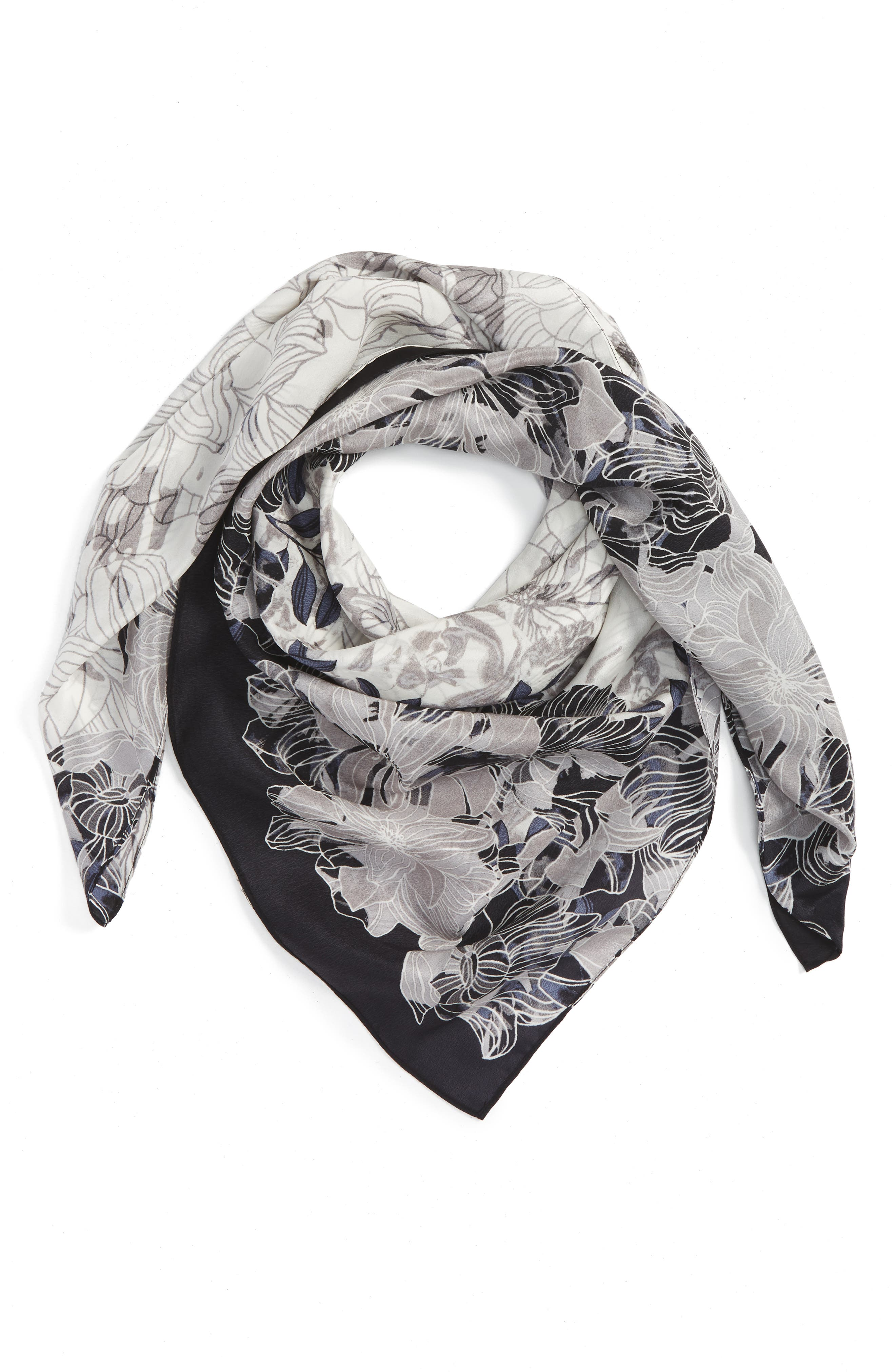 Main Image - Halogen® Floral Square Silk Scarf