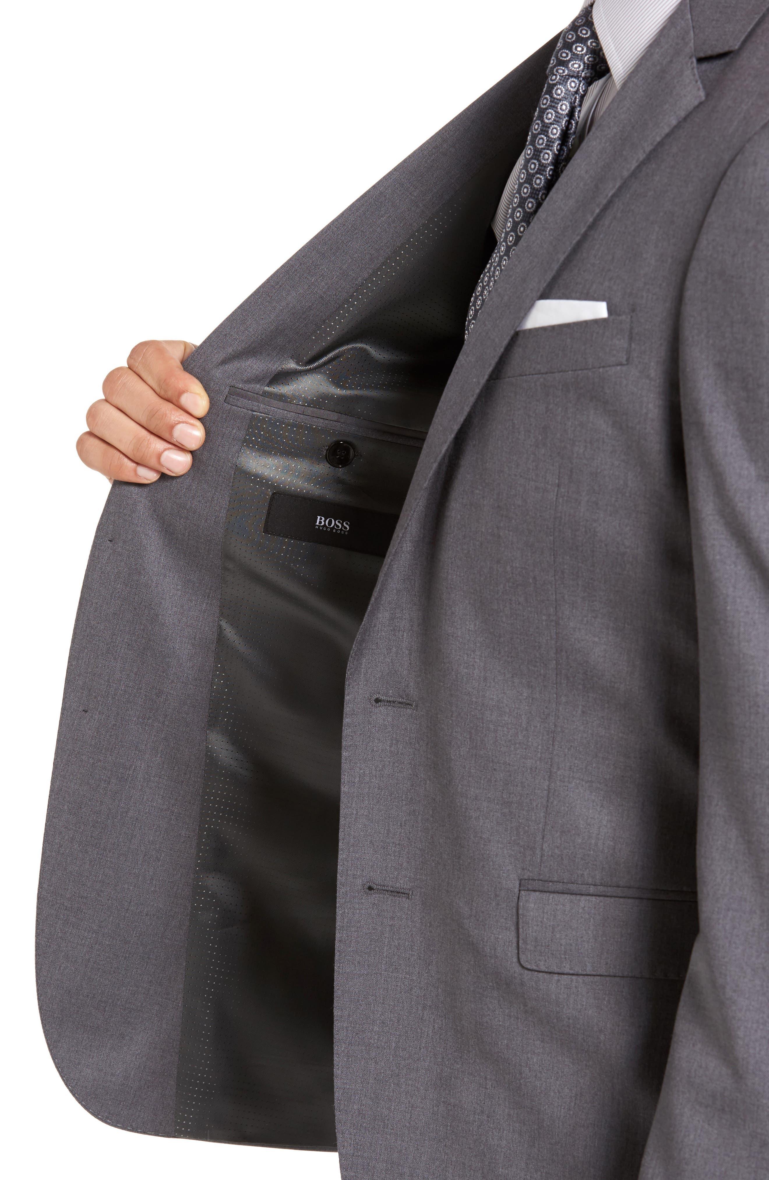 Alternate Image 5  - BOSS Ryan/Win Trim Fit Solid Wool Suit