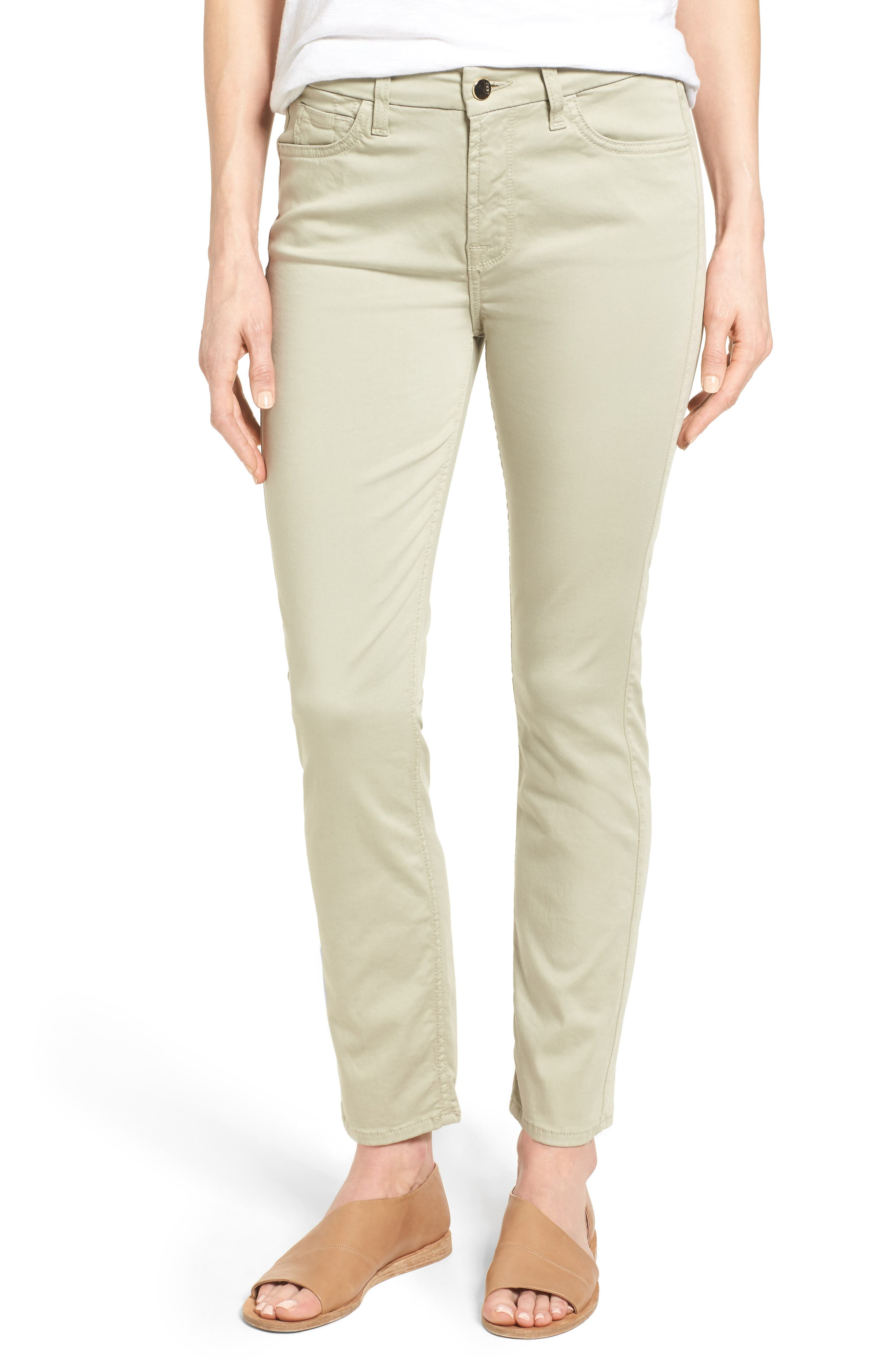Colored Stretch Ankle Skinny Jeans,                             Main thumbnail 1, color,                             Lily Pad