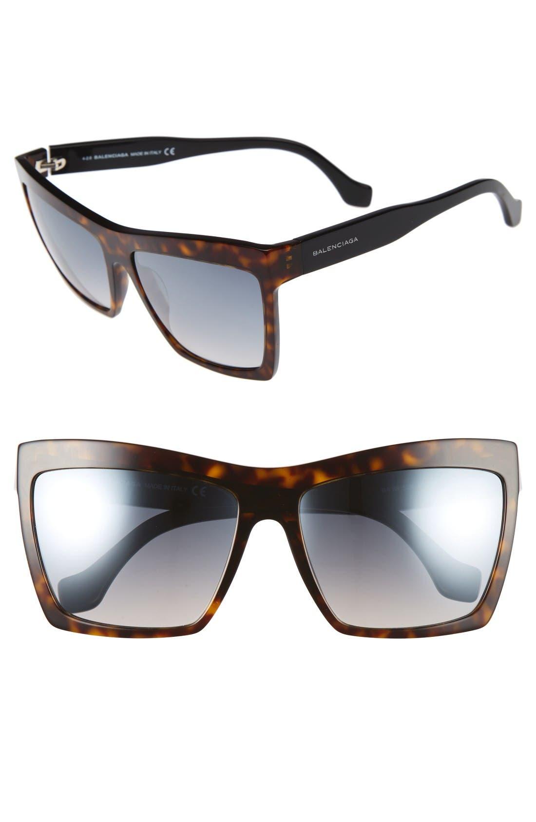 60mm Oversize Sunglasses,                             Main thumbnail 1, color,                             Havana/ Black/ Flash Azure