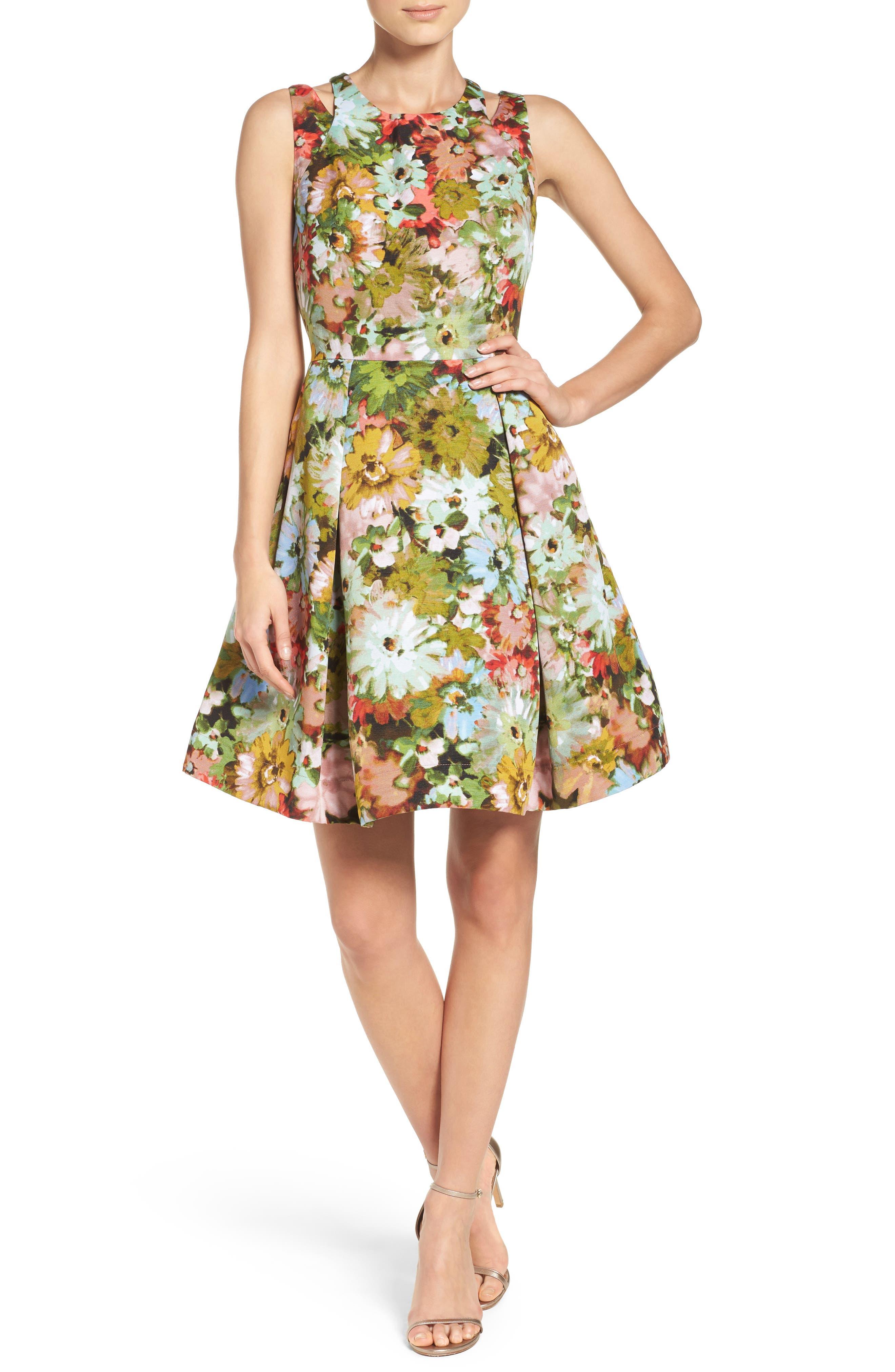 Alternate Image 4  - Taylor Dresses Vintage Floral Fit & Flare Dress