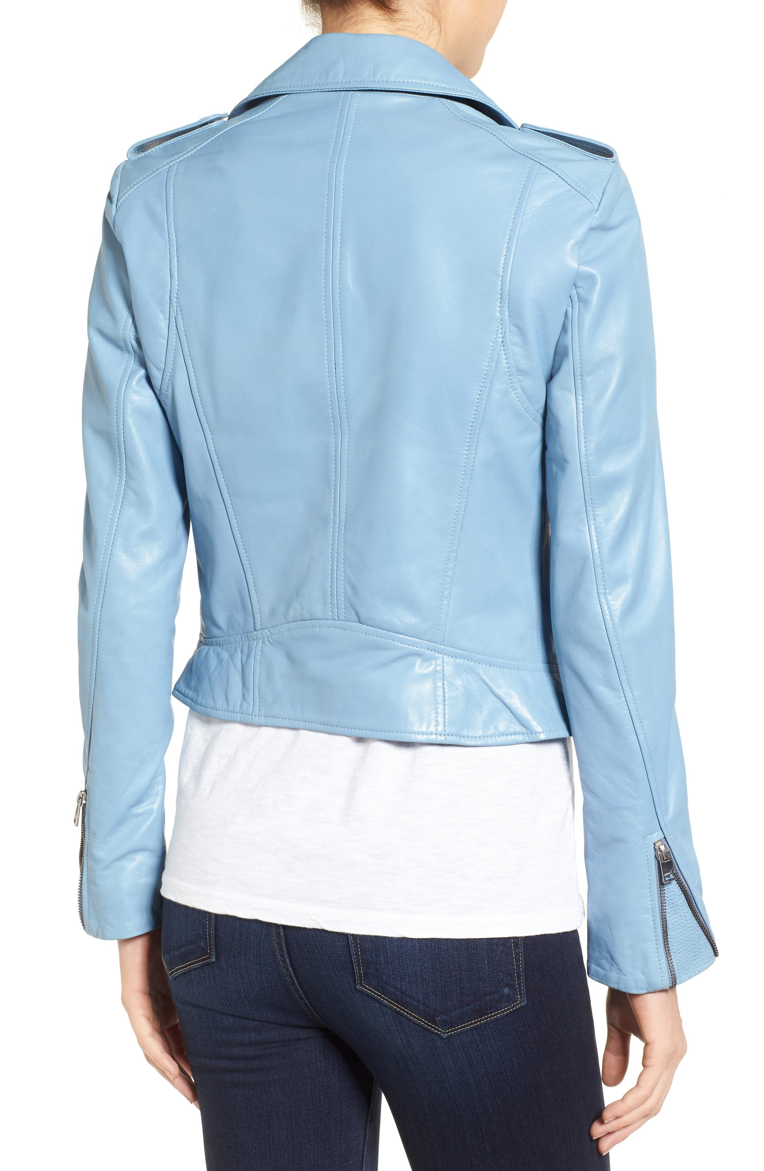 Donna Lambskin Leather Moto Jacket,                             Alternate thumbnail 2, color,                             Powder Blue