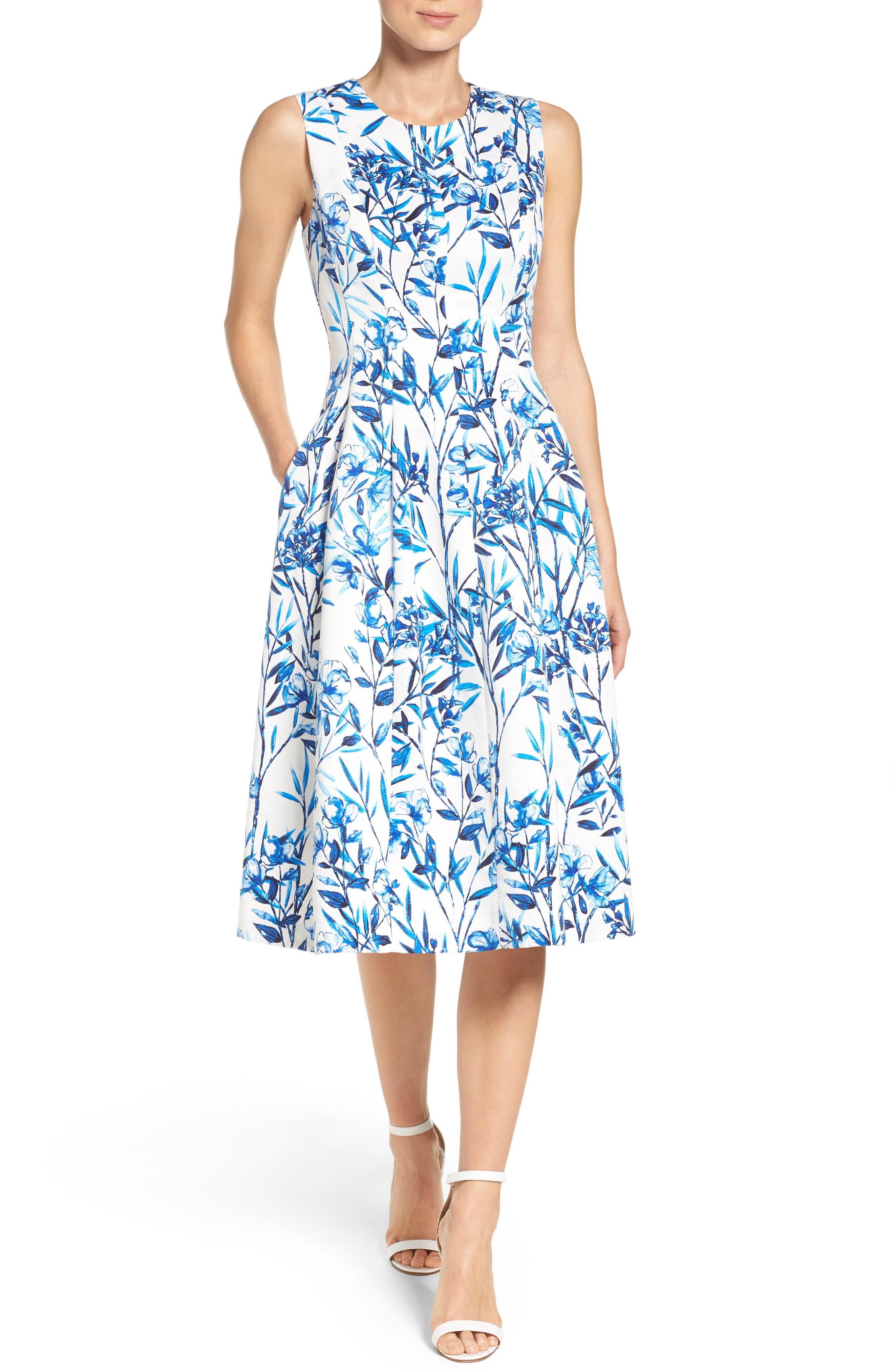 Fit & Flare Midi Dress,                         Main,                         color, Blue/ Ivory