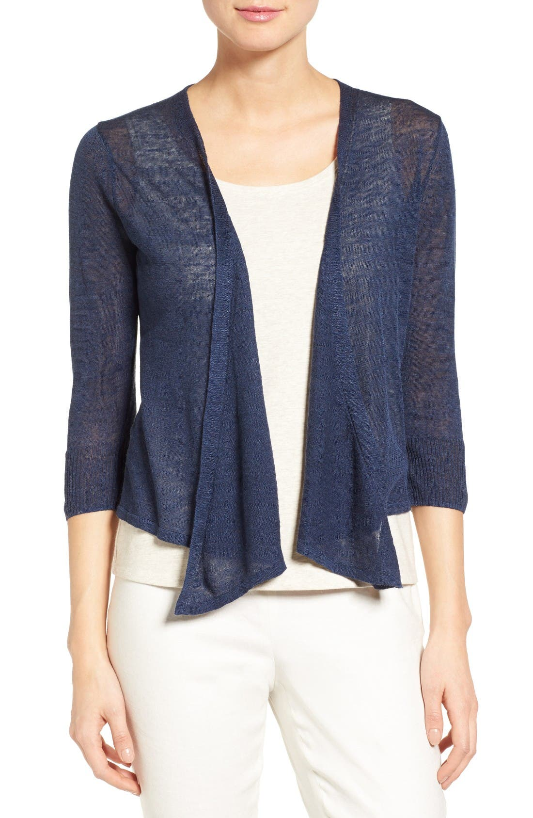 4-Way Convertible Three Quarter Sleeve Cardigan,                             Main thumbnail 1, color,                             Indigo