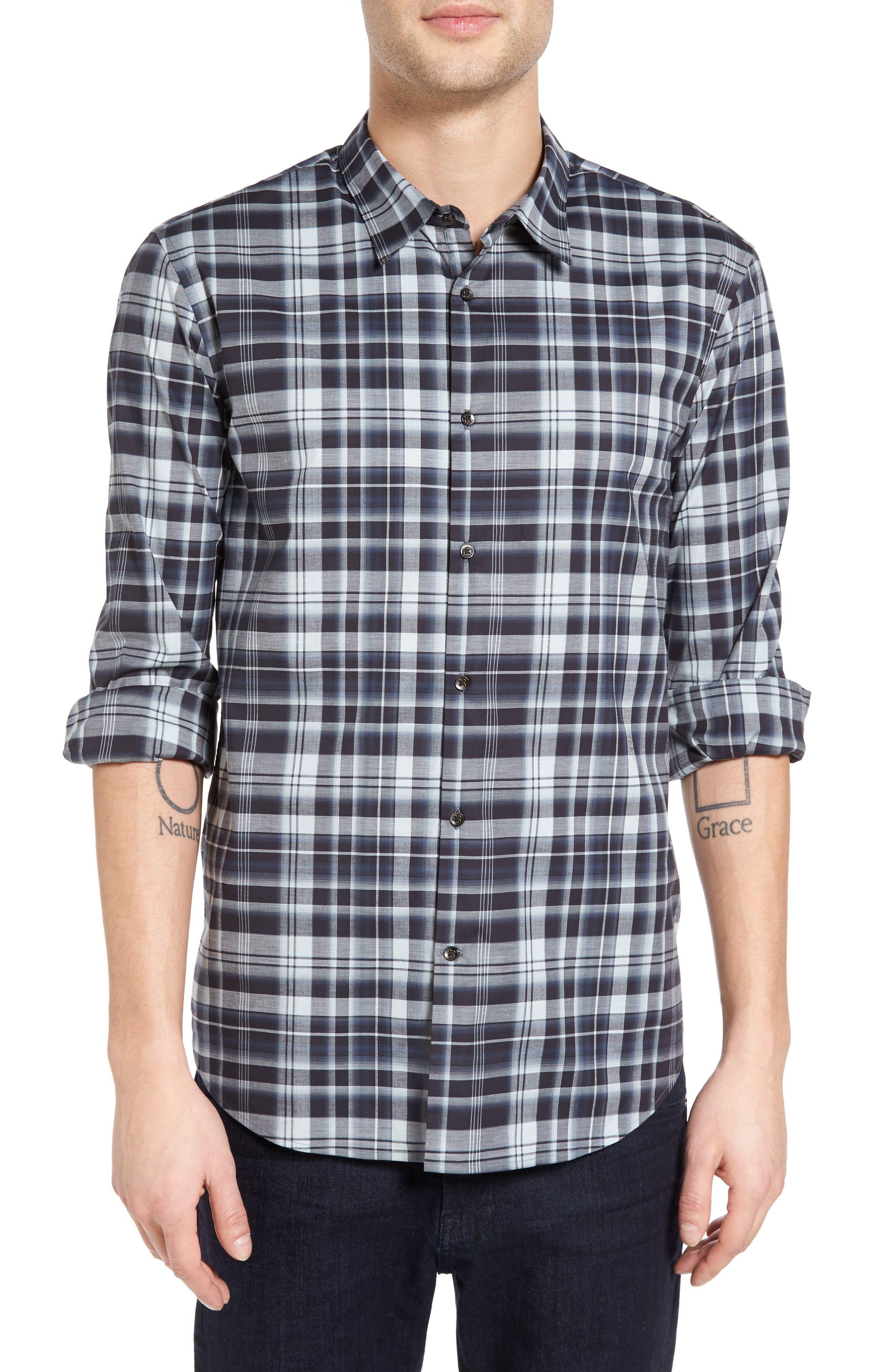 John Varvatos Star USA Mayfield Slim Fit Plaid Sport Shirt