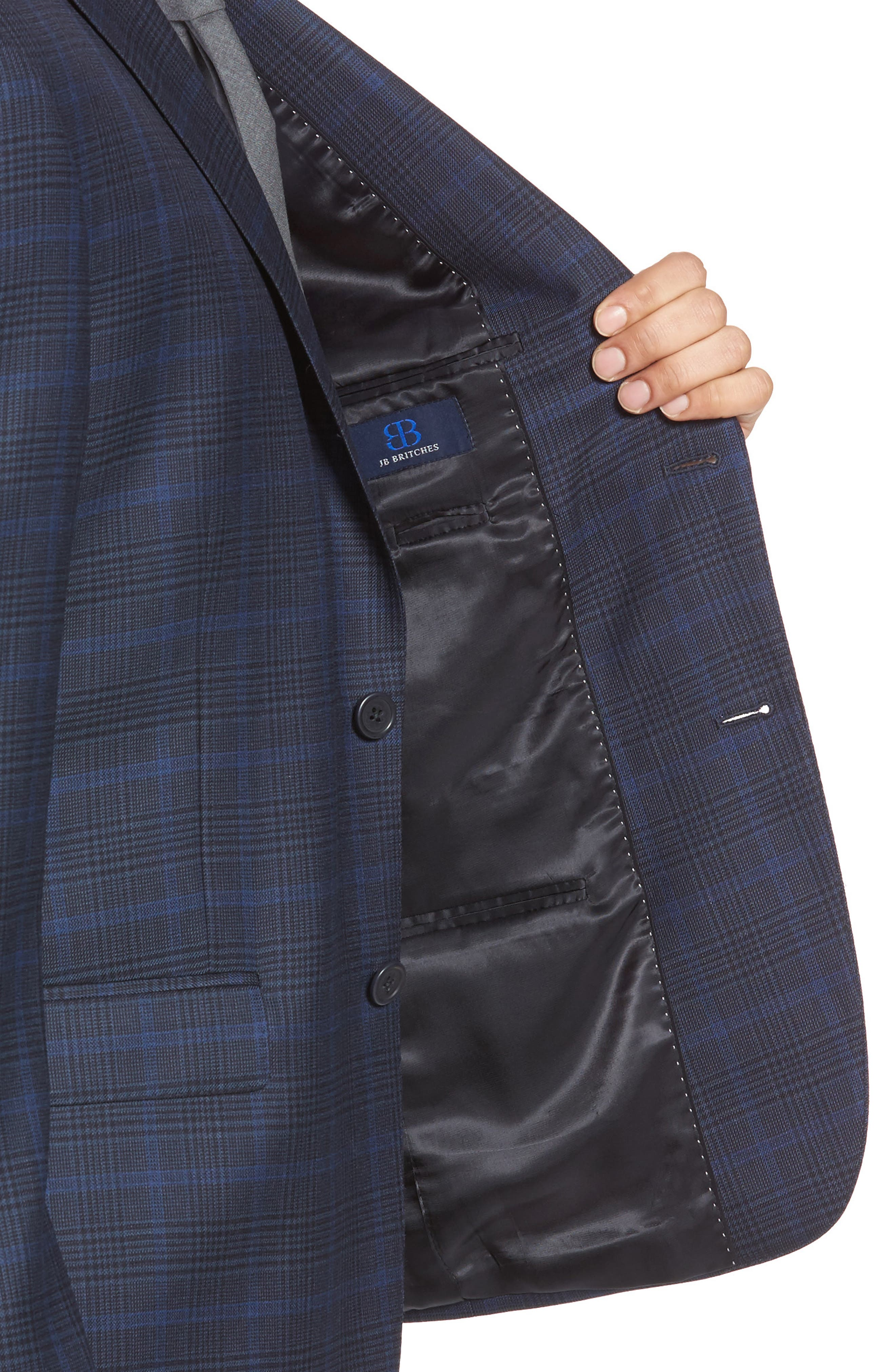 Classic Fit Plaid Wool Sport Coat,                             Alternate thumbnail 4, color,                             Navy